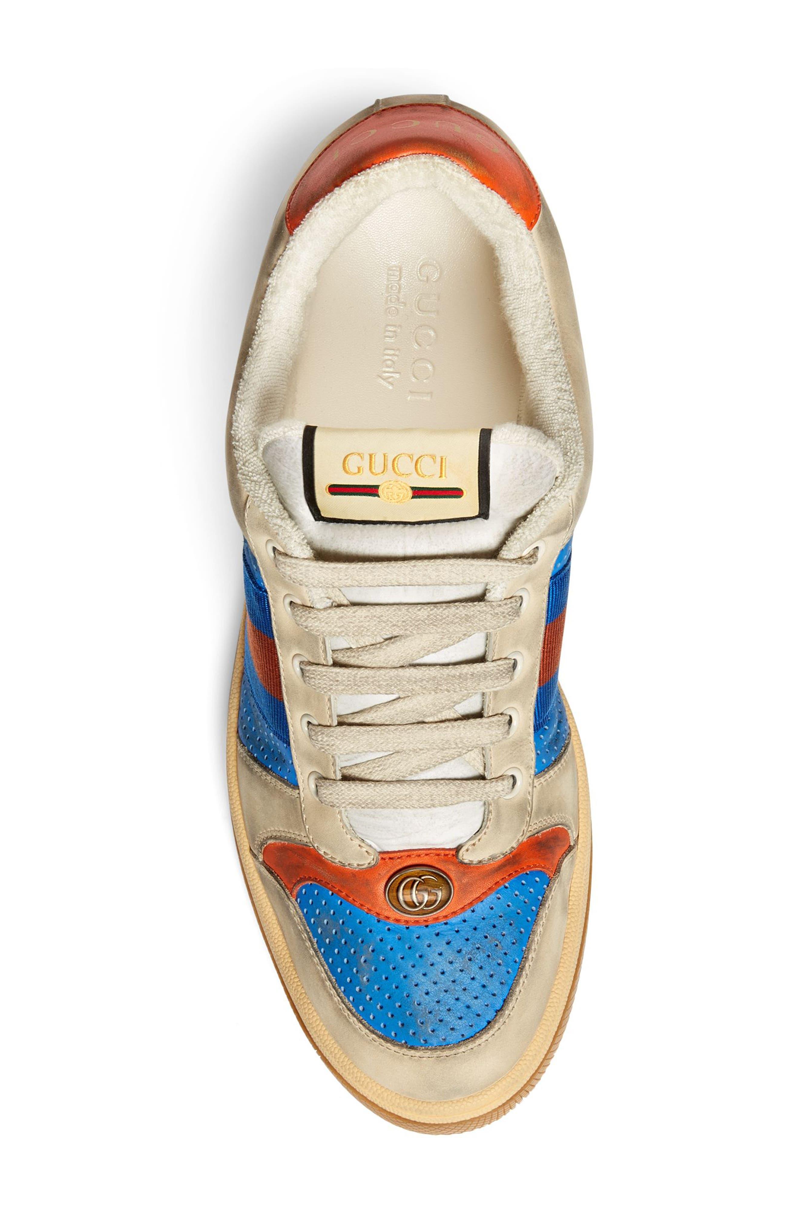 GUCCI, Screener Low Top Sneaker, Alternate thumbnail 3, color, BLUE/ CAMEL