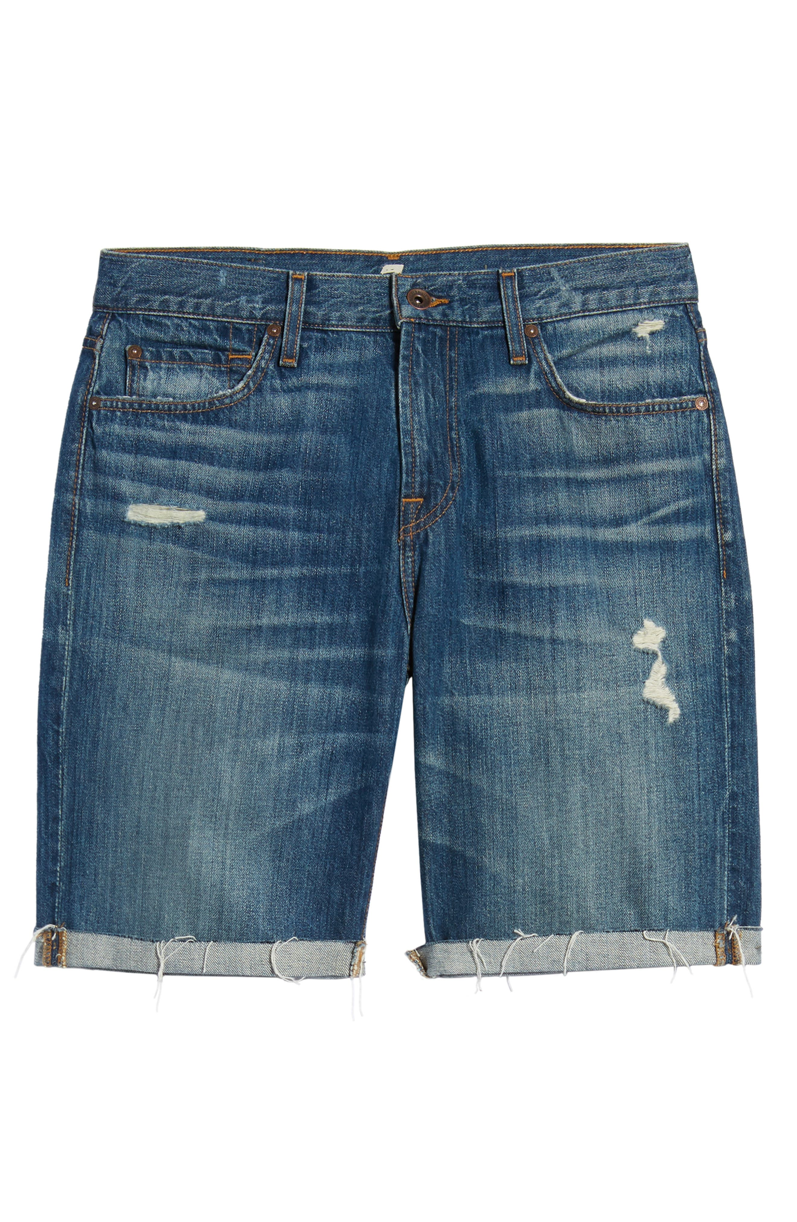 7 FOR ALL MANKIND<SUP>®</SUP>, Cutoff Denim Shorts, Alternate thumbnail 7, color, LEGEND DESTROYED