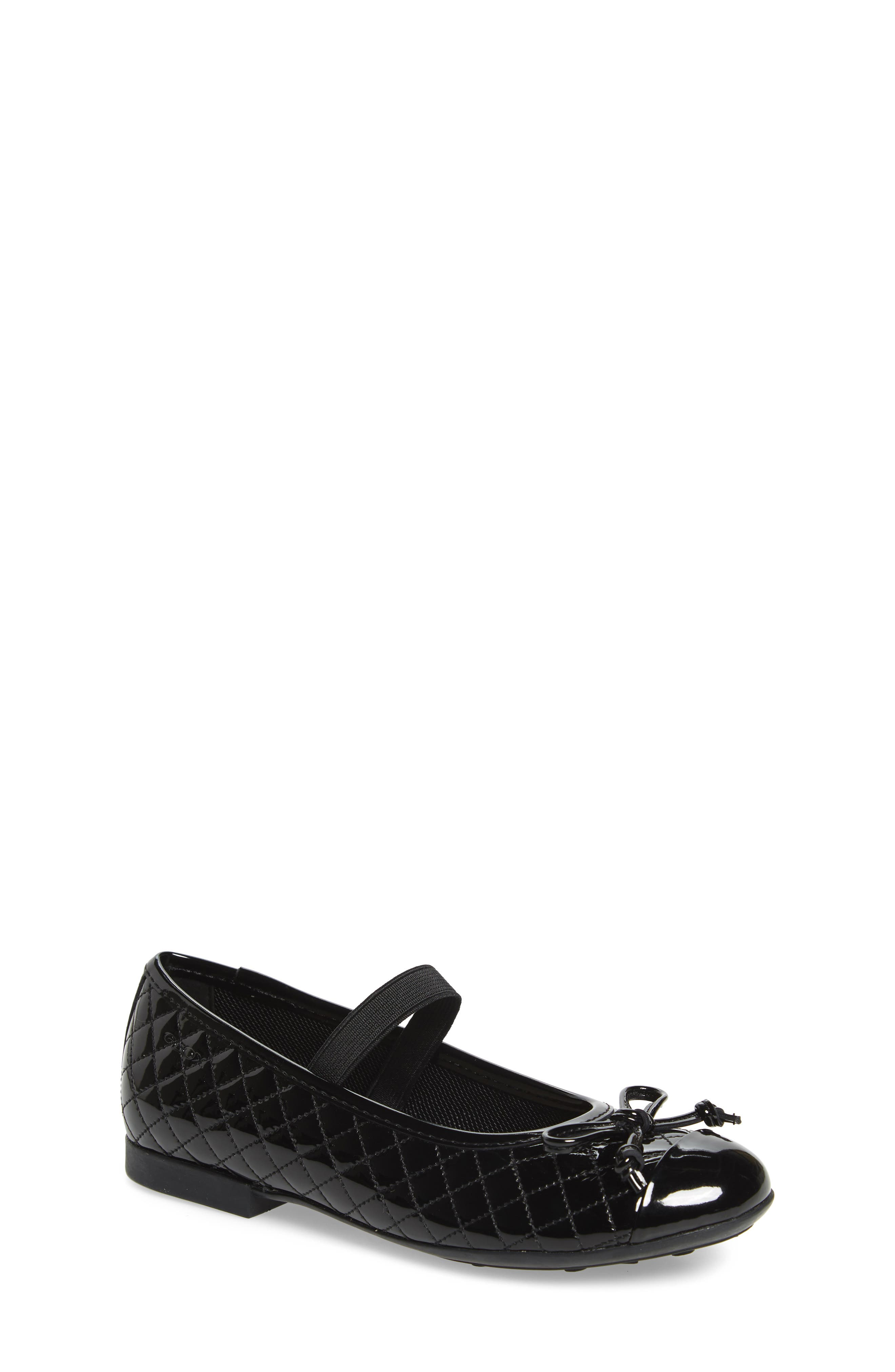 GEOX, 'Plie' Mary Jane Flat, Main thumbnail 1, color, BLACK/ BLACK
