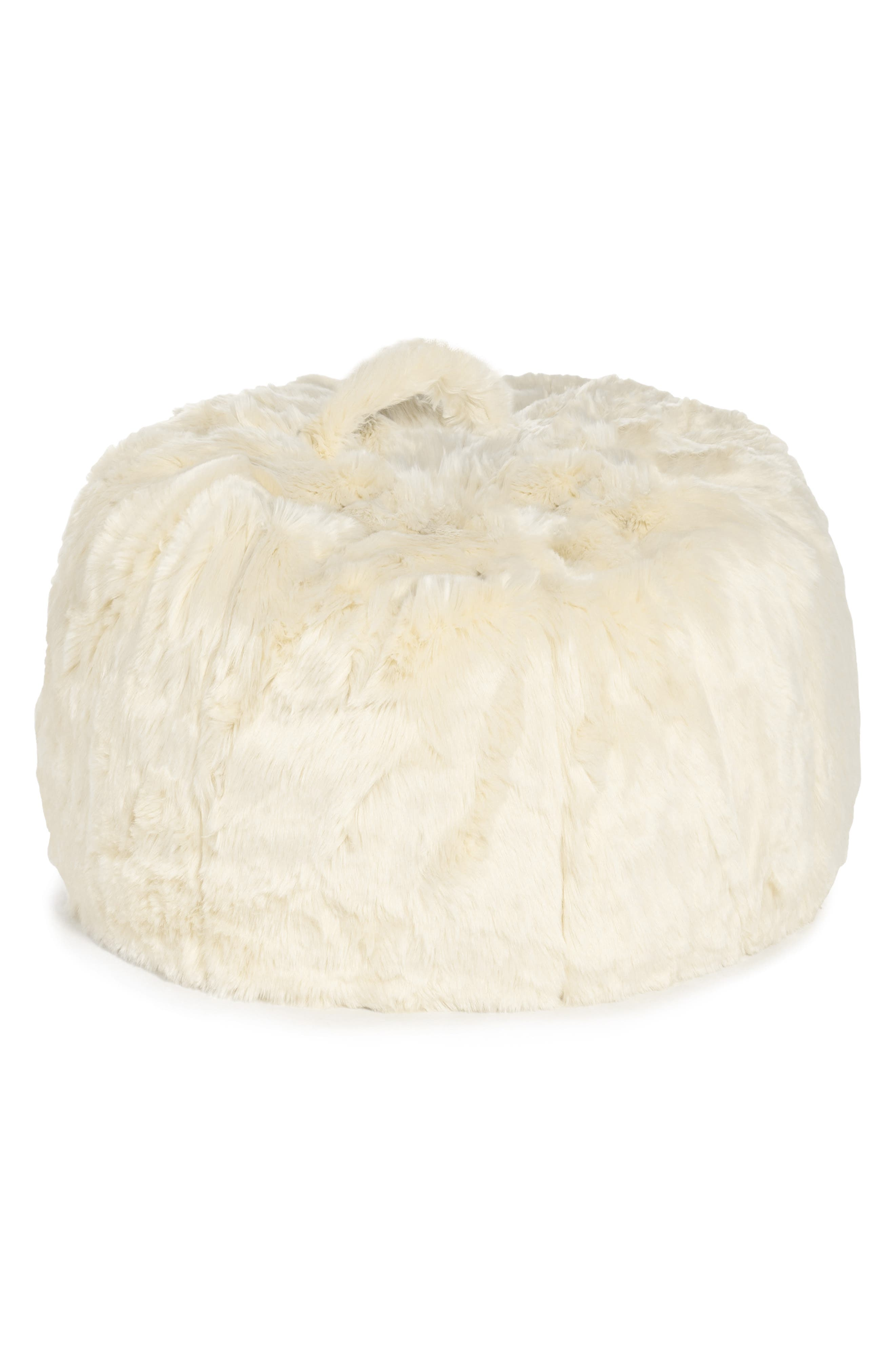 NORDSTROM AT HOME, Cuddle-Up Faux Fur Beanbag Chair, Main thumbnail 1, color, IVORY
