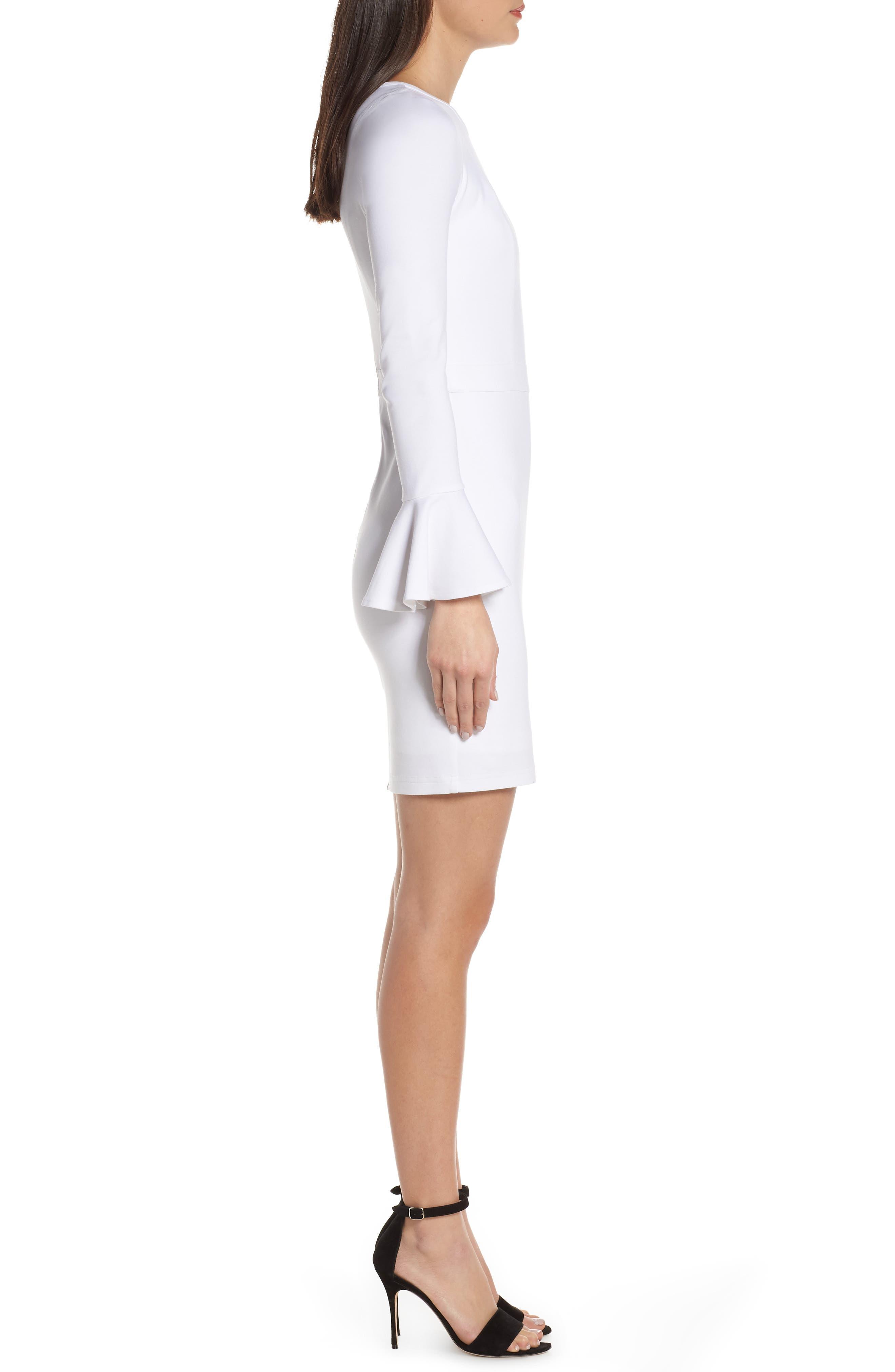 ALI & JAY, Pavillion Bell Cuff Sheath Dress, Alternate thumbnail 4, color, WHITE