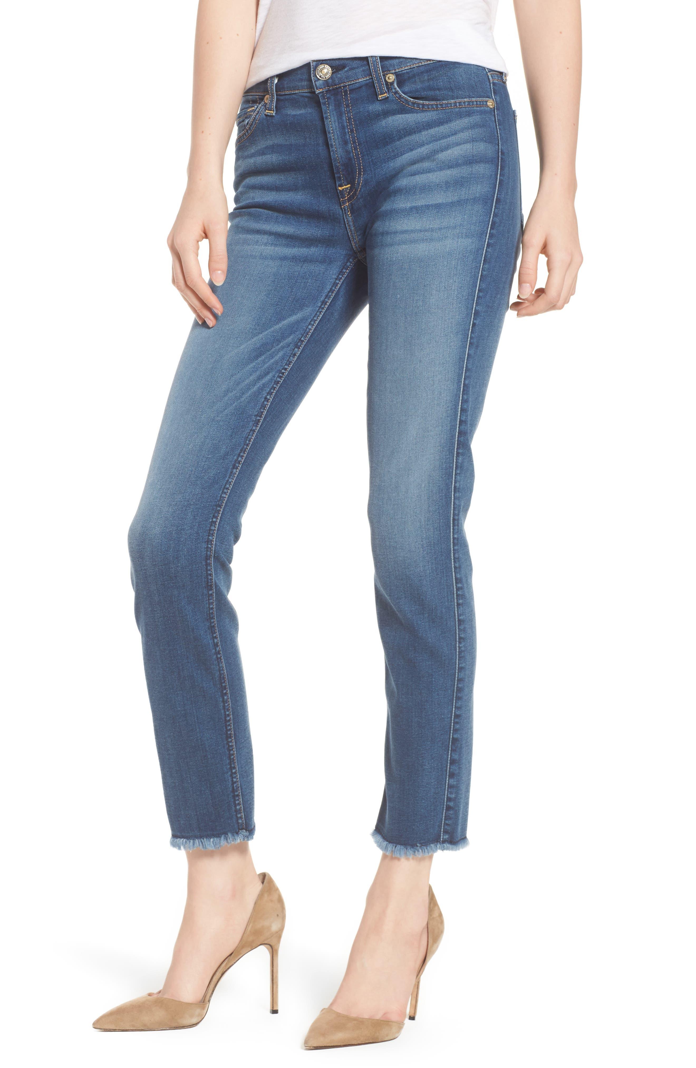 7 FOR ALL MANKIND<SUP>®</SUP> b(air) Roxanne Ankle Straight Leg Jeans, Main, color, BAIR VINTAGE DUSK