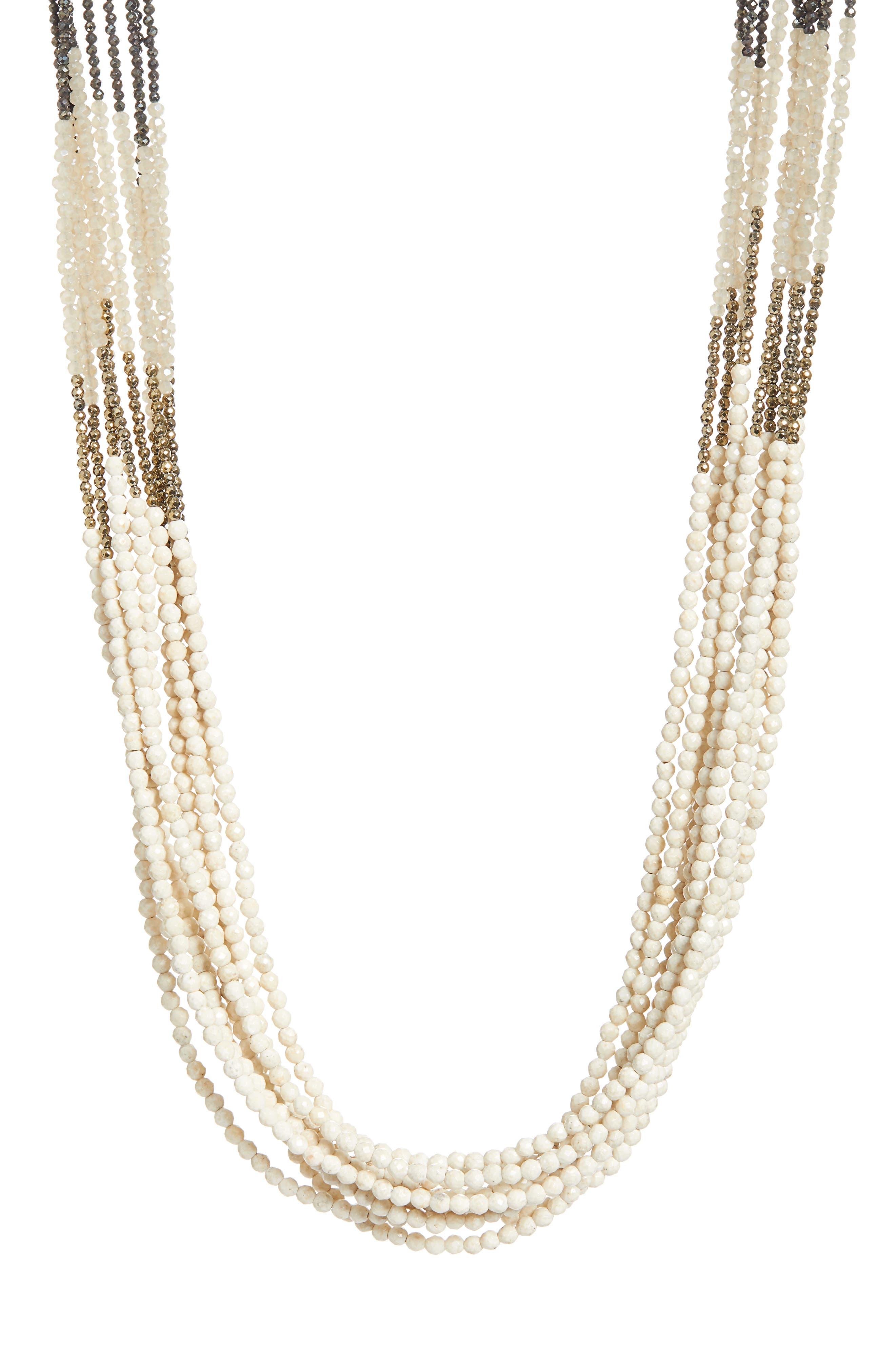 BRUNELLO CUCINELLI Beaded Multistrand Necklace, Main, color, BROWN