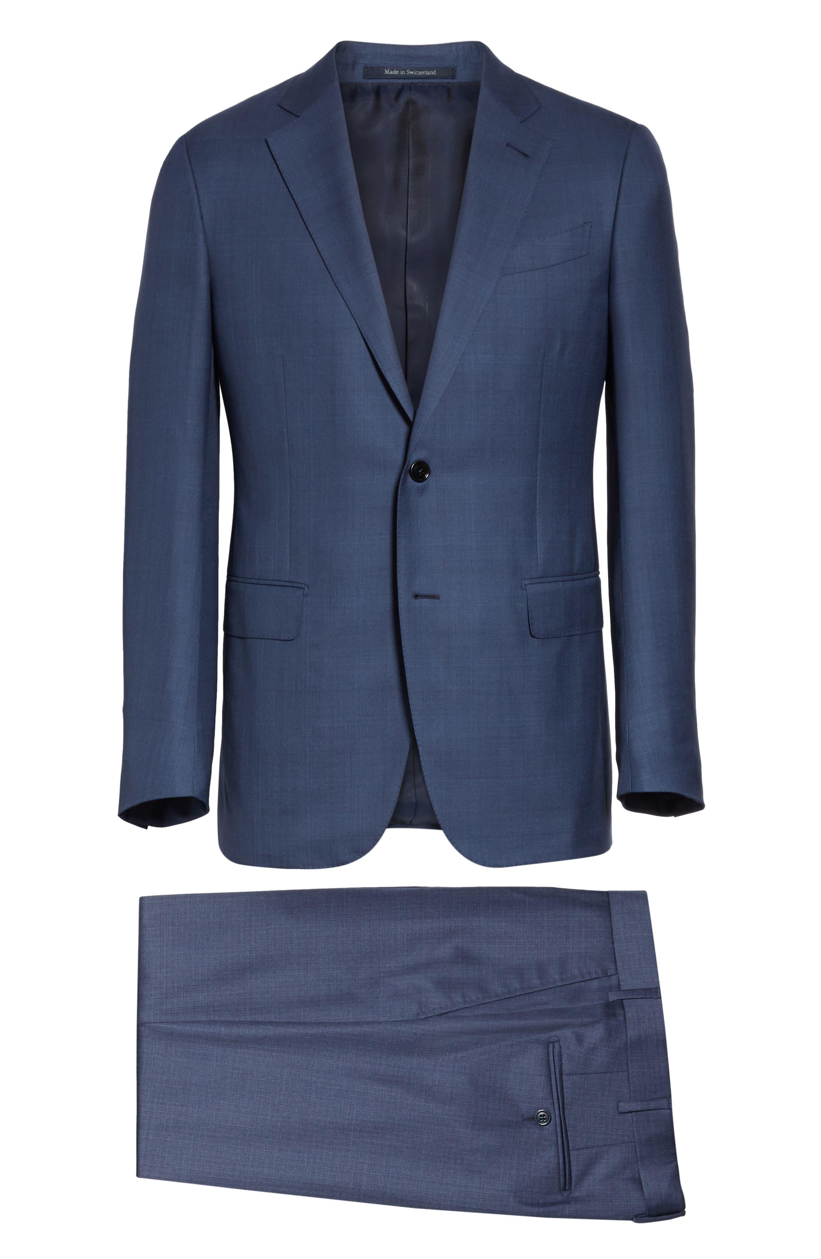 ERMENEGILDO ZEGNA, Trofeo Classic Fit Plaid Wool & Silk Suit, Alternate thumbnail 8, color, BLUE