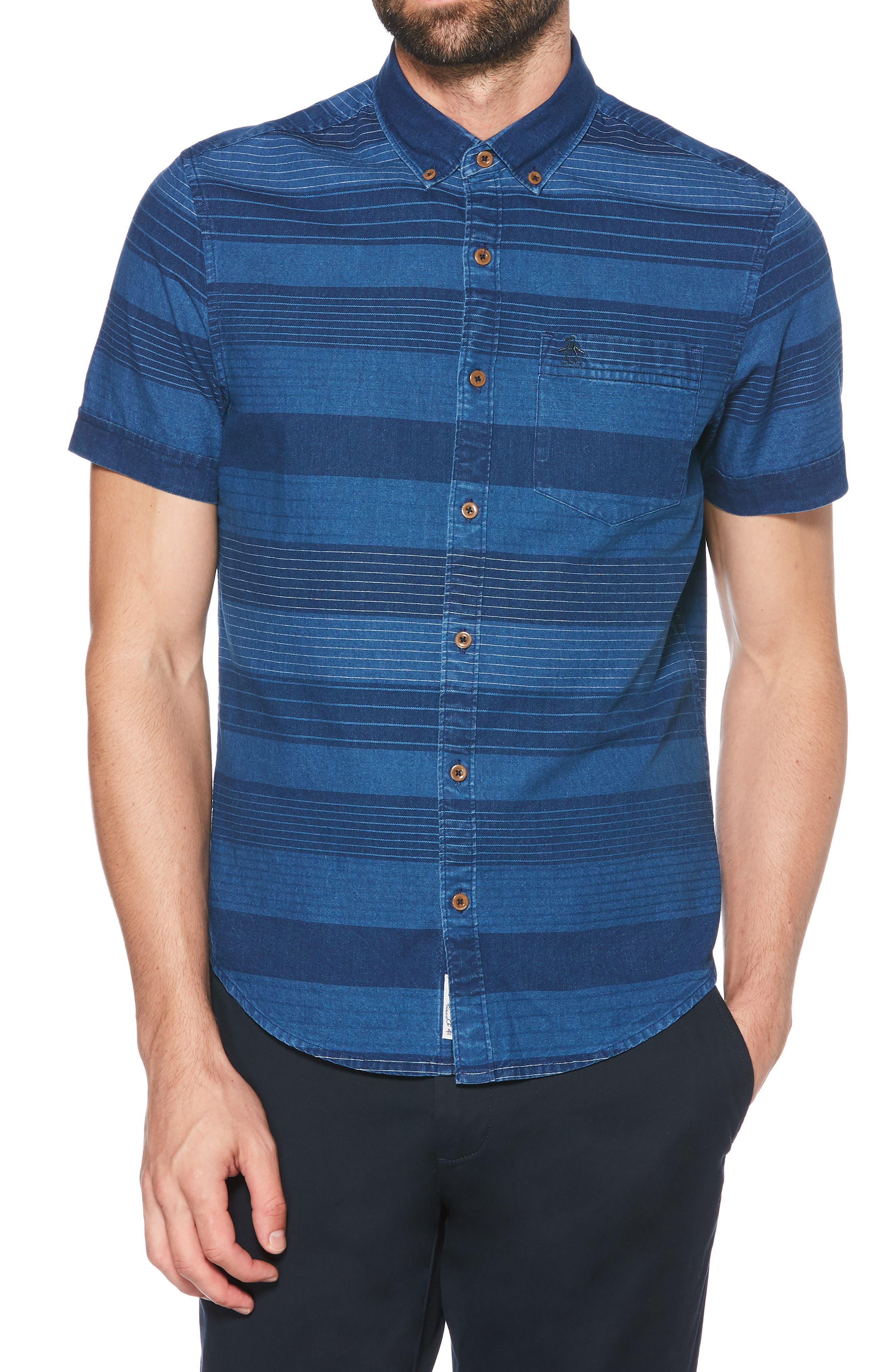 ORIGINAL PENGUIN, Slim Fit Dobby Striped Sport Shirt, Main thumbnail 1, color, DARK DENIM