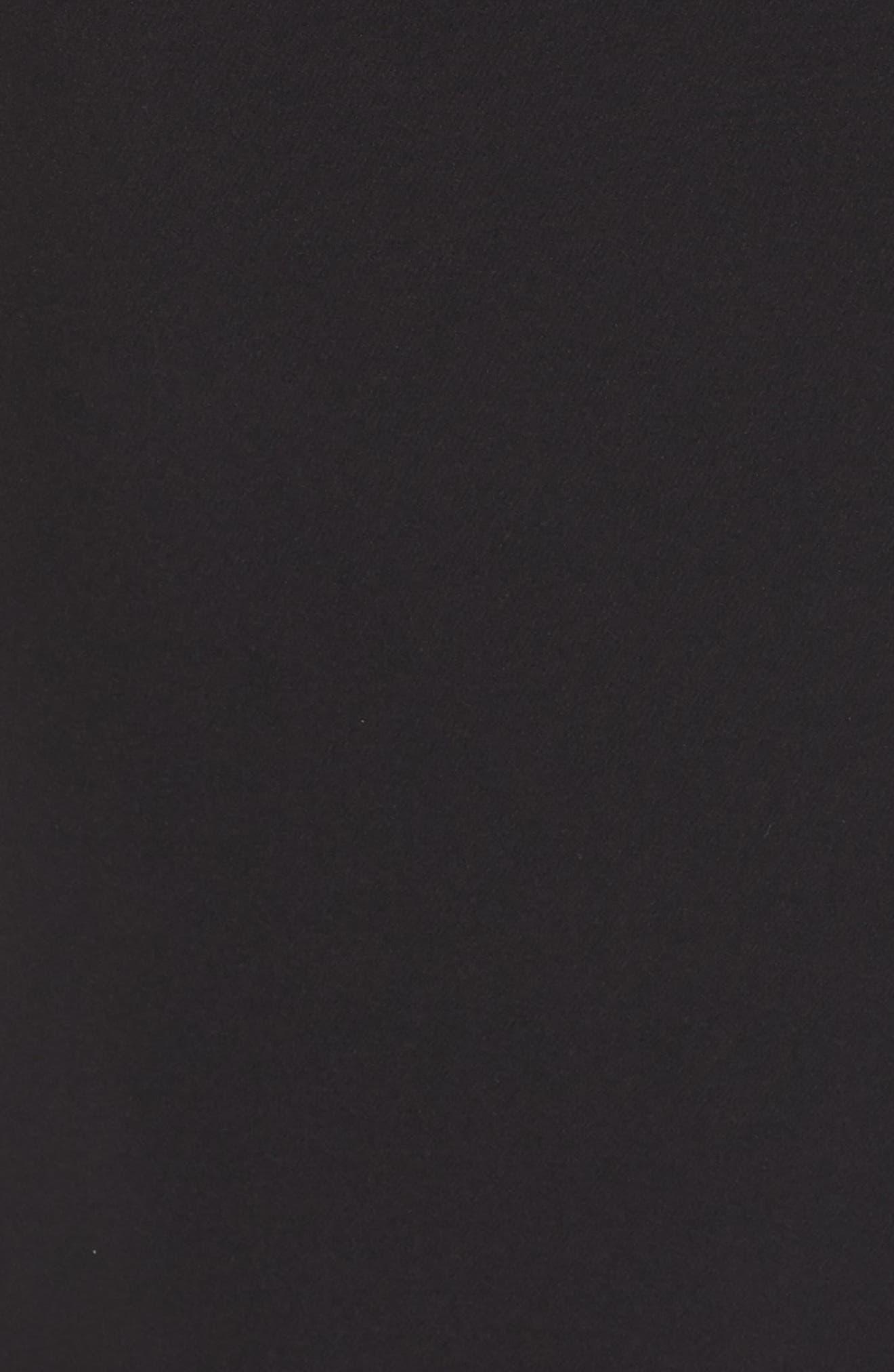 ELIZA J, Ruffle Front Gown, Alternate thumbnail 6, color, BLACK