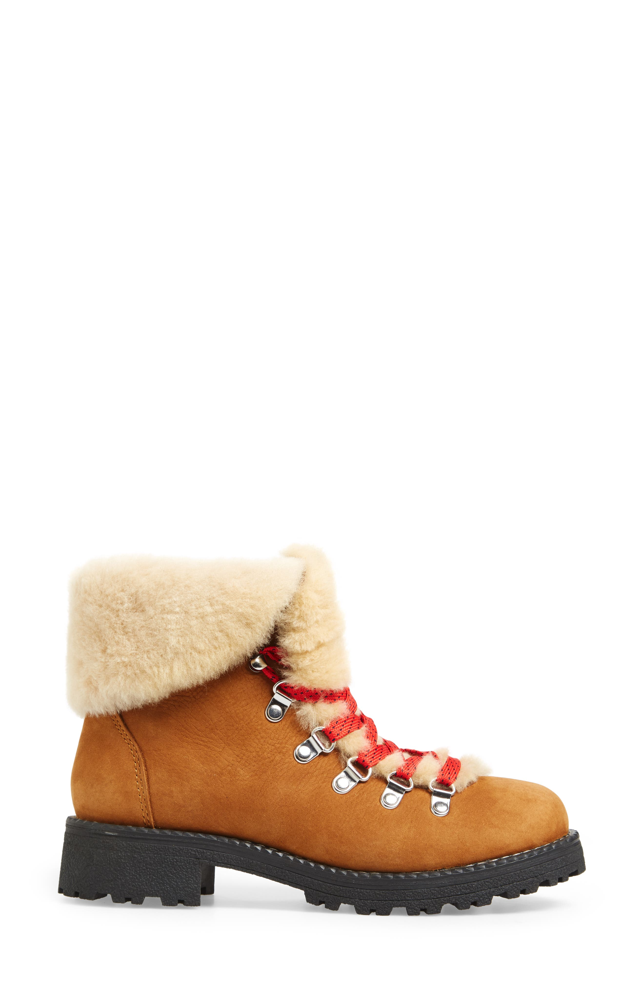 J.CREW, Nordic Genuine Shearling Cuff Winter Boot, Alternate thumbnail 3, color, GLAZED PECAN LEATHER