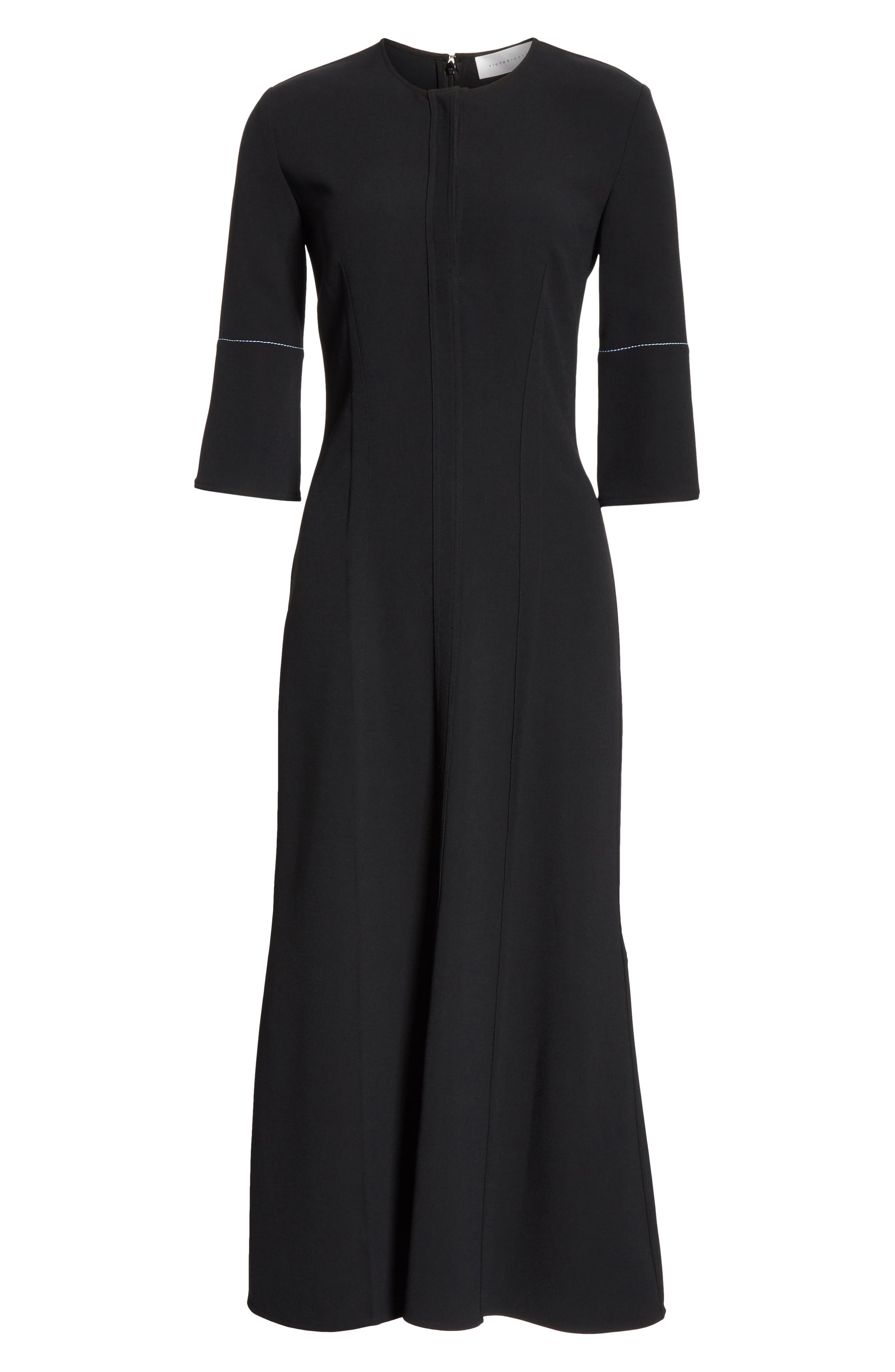 VICTORIA BECKHAM, Contrast Stitch Crepe Dress, Alternate thumbnail 7, color, BLACK