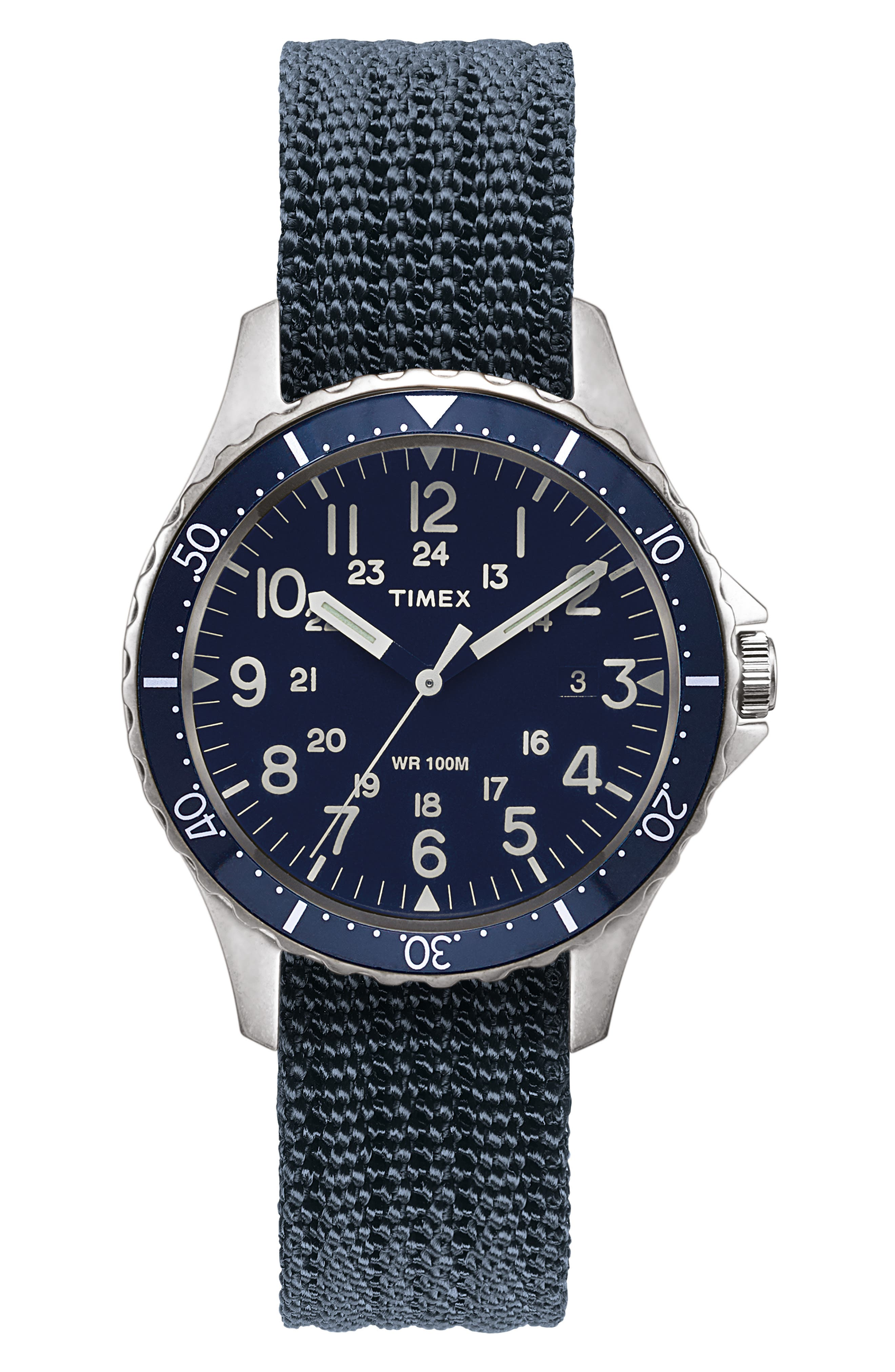 TIMEX<SUP>®</SUP> ARCHIVE Navi Harbor NATO Strap Watch, 38mm, Main, color, 410