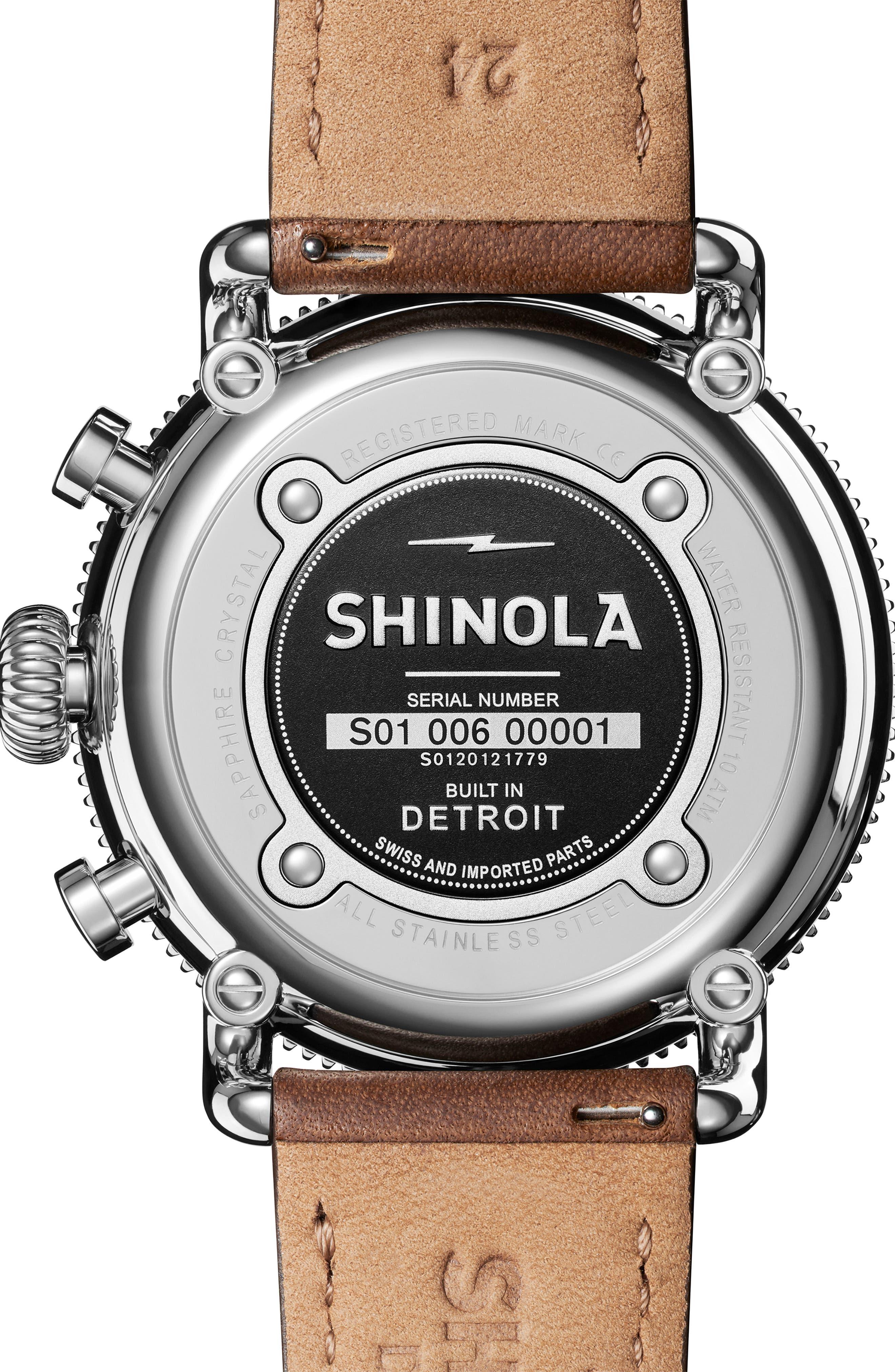 SHINOLA, The Runwell Sport Chronograph Watch, 48mm, Alternate thumbnail 2, color, BRITISH TAN/ SILVER SUNRAY