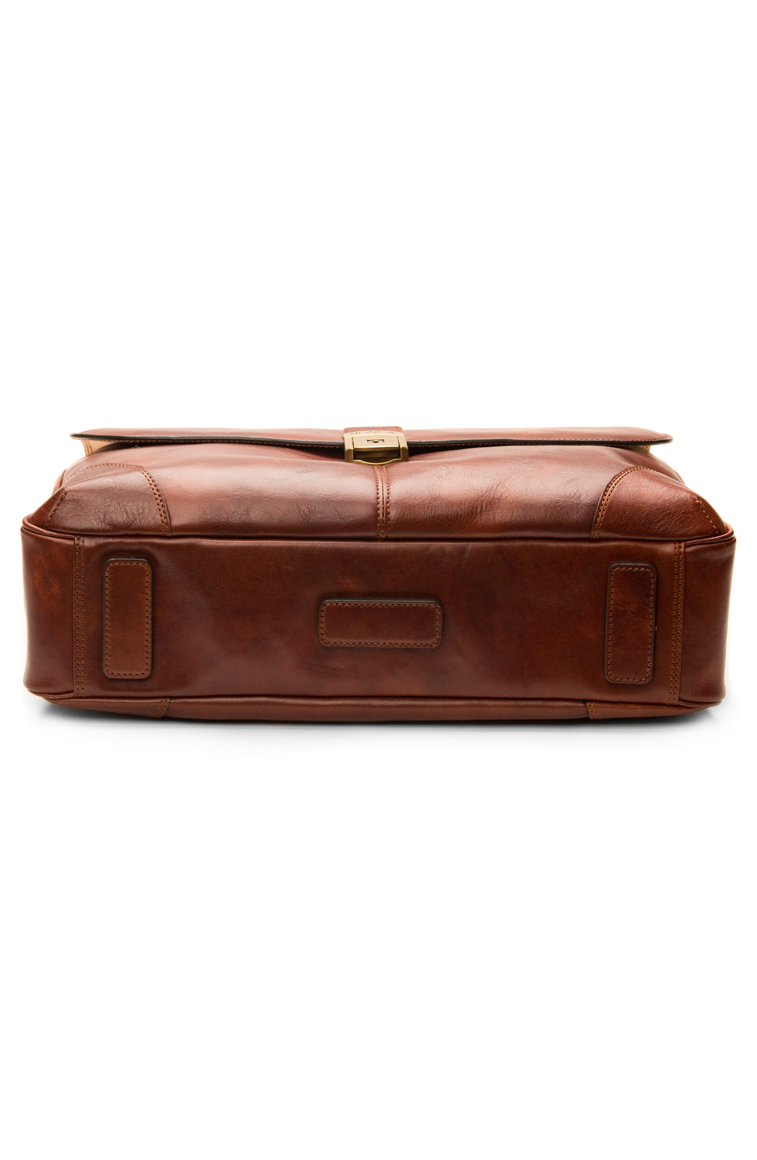 BOSCA, Leather Briefcase, Alternate thumbnail 5, color, DARK BROWN