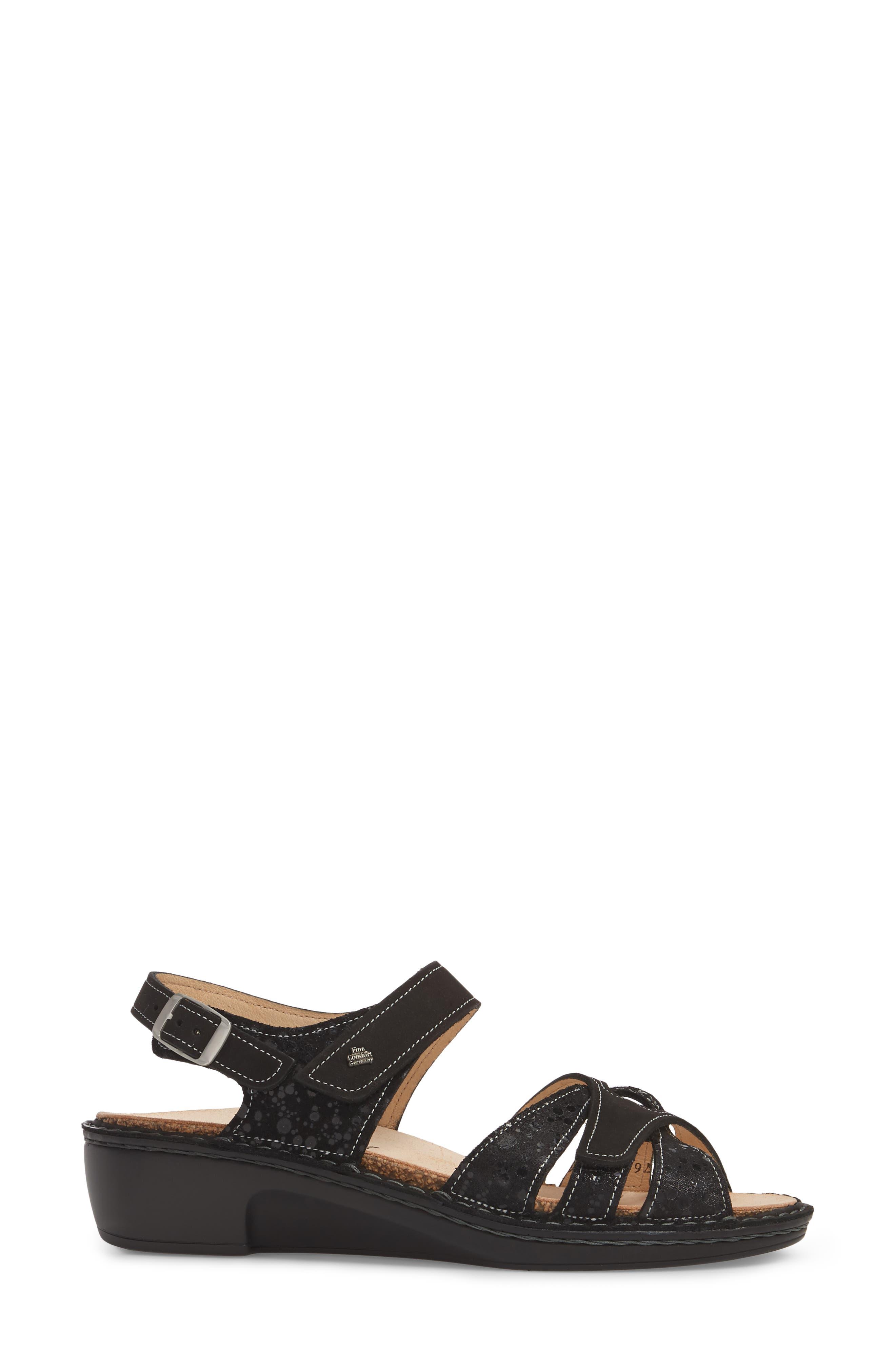 FINN COMFORT, Buka Sandal, Alternate thumbnail 3, color, 001