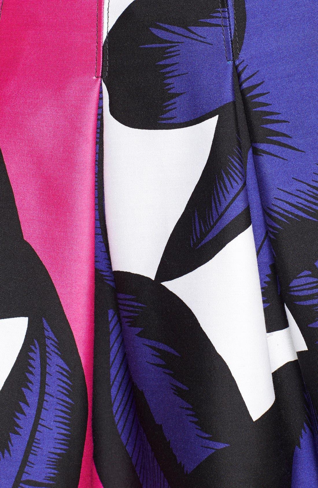 DIANE VON FURSTENBERG, 'Gemma' Print Pleated Skirt, Alternate thumbnail 3, color, 500