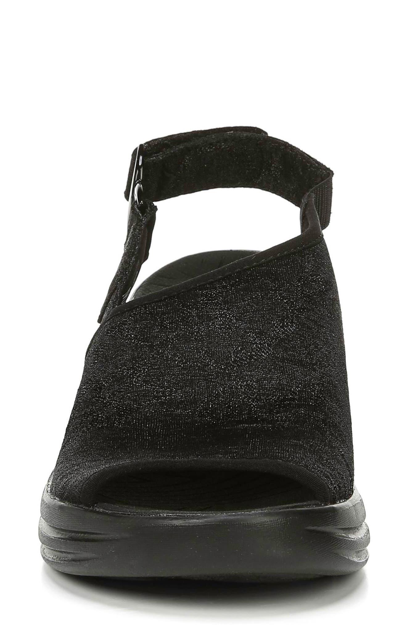BZEES, Vivia Slingback Wedge Sandal, Alternate thumbnail 4, color, BLACK FABRIC