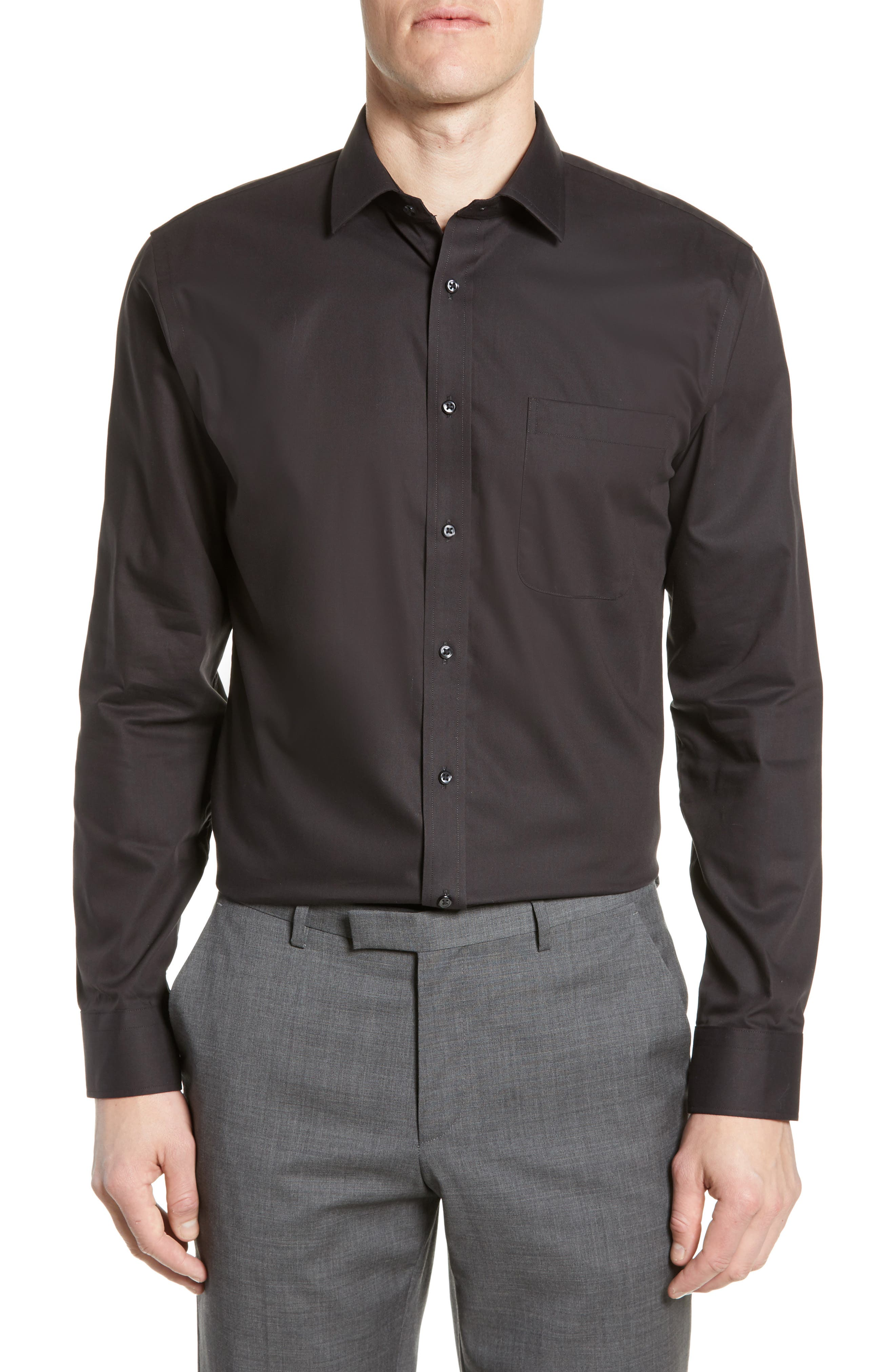 NORDSTROM MEN'S SHOP, Trim Fit Non-Iron Dress Shirt, Main thumbnail 1, color, BLACK