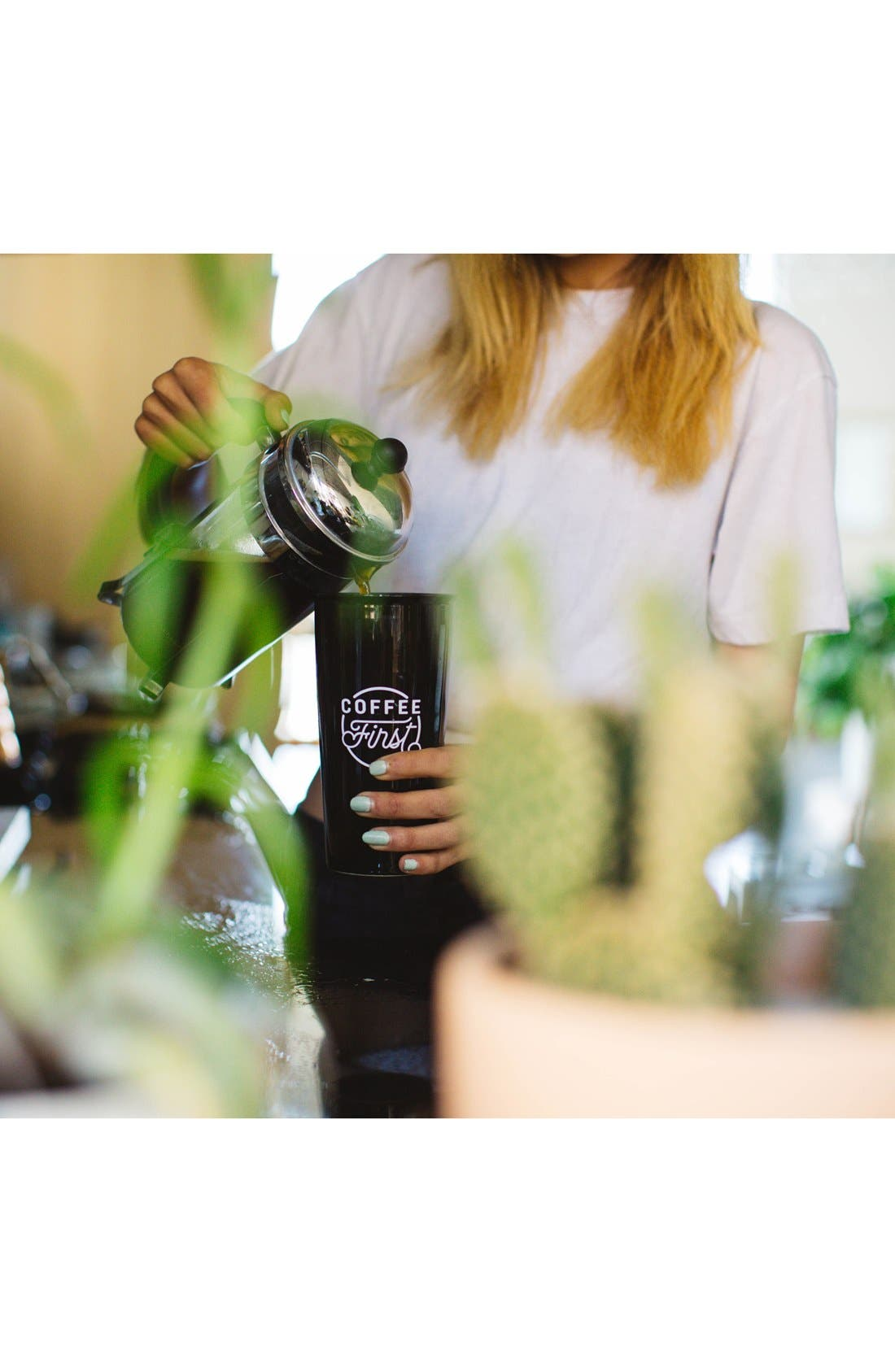 THE CREATED CO., 'Coffee First' Travel Tumbler, Alternate thumbnail 7, color, 001