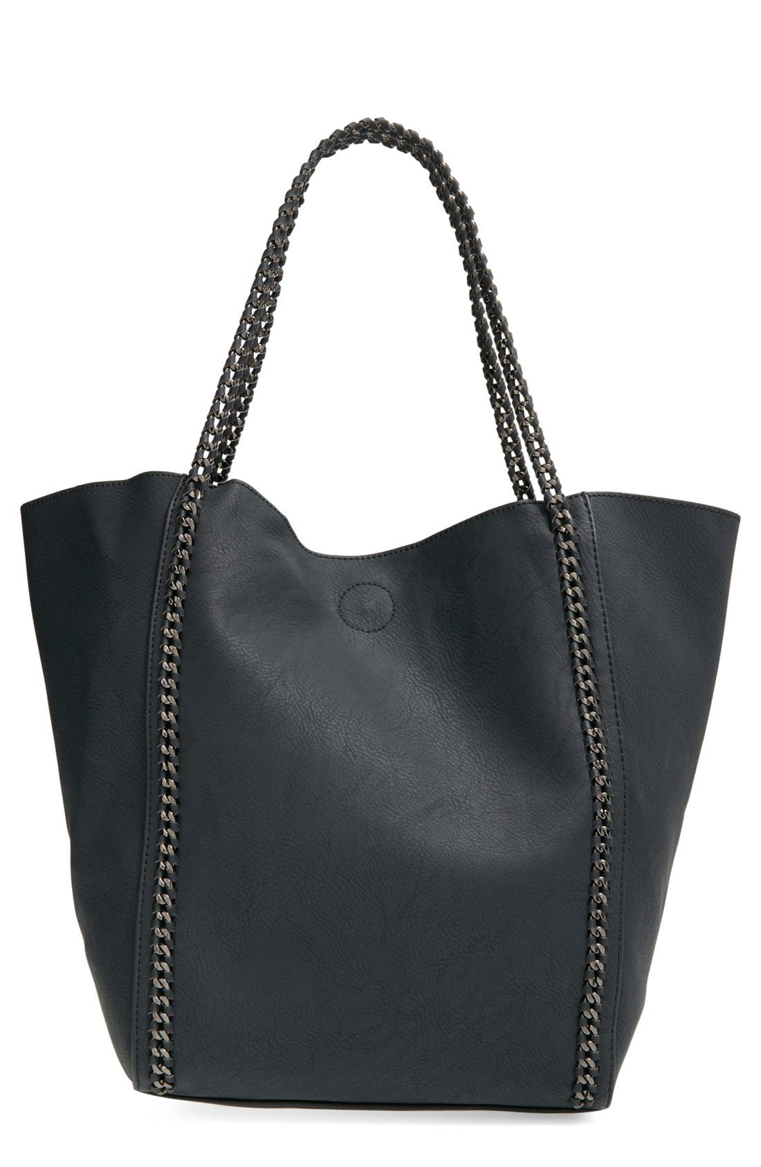 PHASE 3, Chain Faux Leather Tote, Main thumbnail 1, color, 001