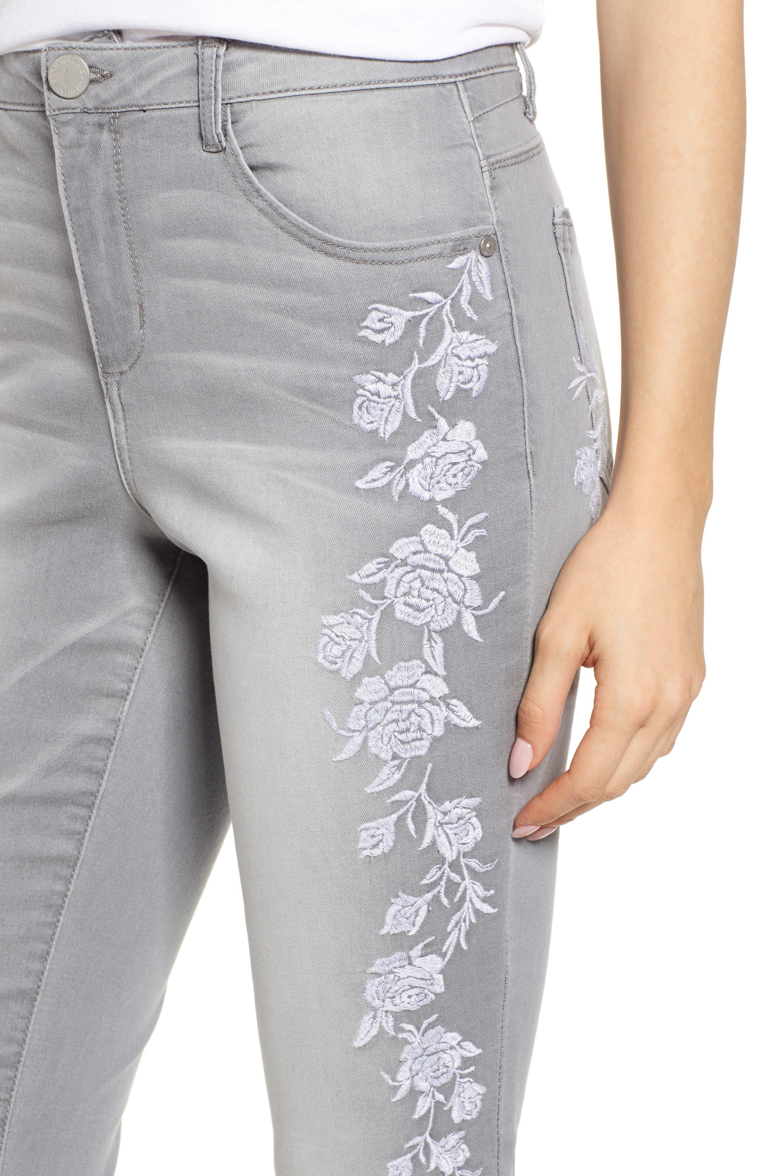 WIT & WISDOM, High Waist Slim Crop Straight Leg Jeans, Alternate thumbnail 5, color, GREY