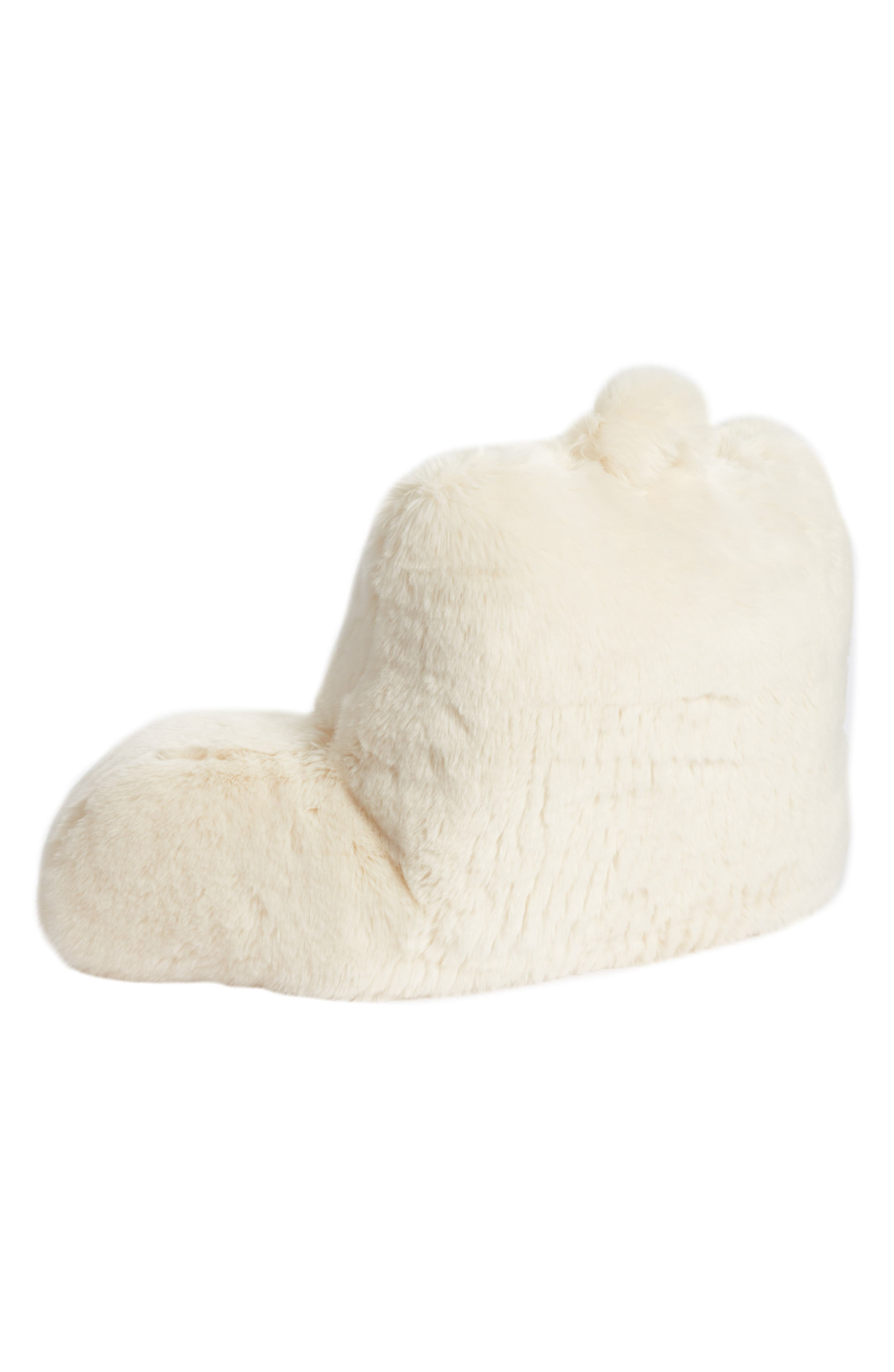 NORDSTROM AT HOME, Cuddle Up Faux Fur Backrest Pillow, Alternate thumbnail 2, color, IVORY