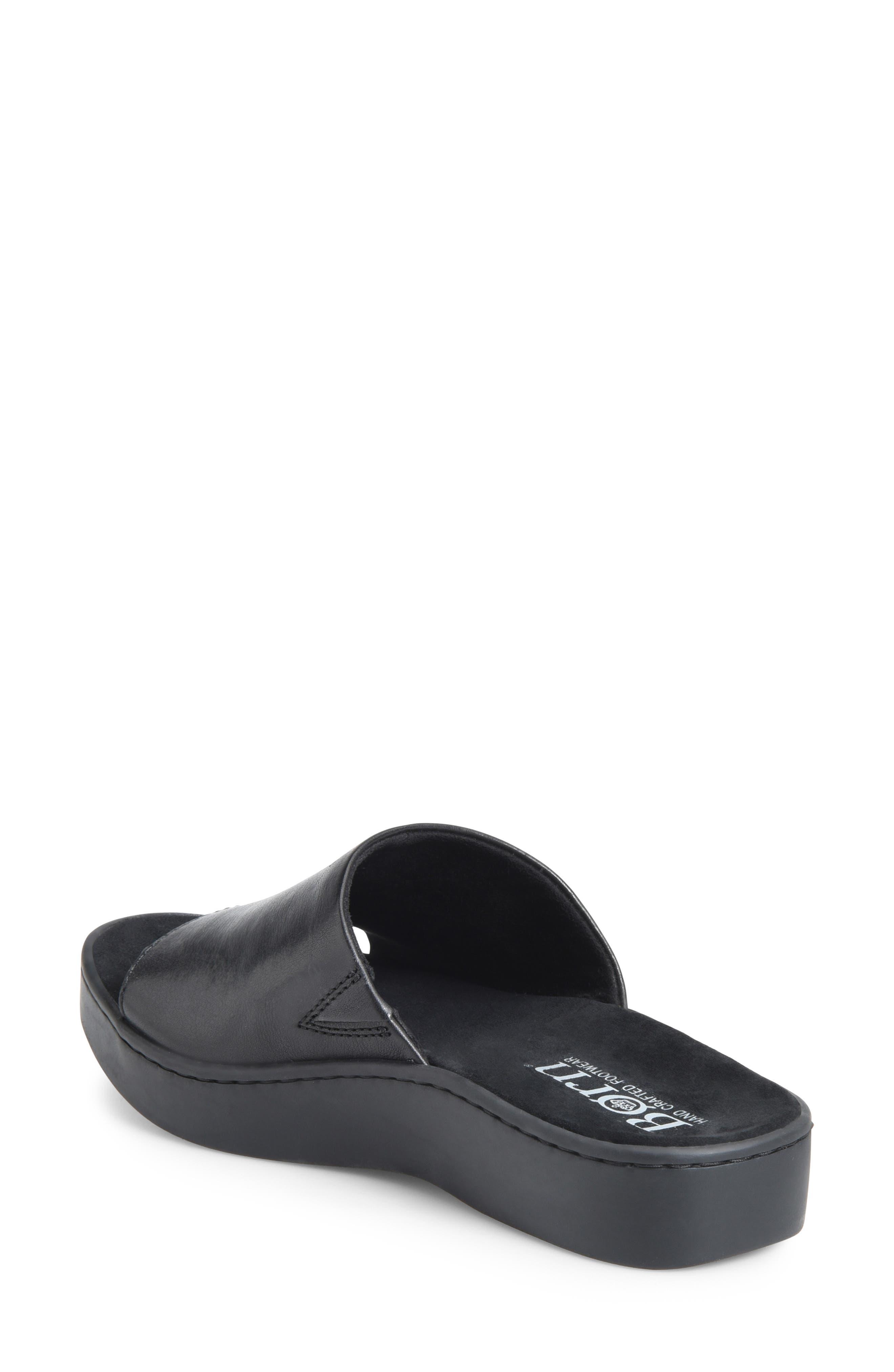BØRN, Ottawa Slide Sandal, Alternate thumbnail 2, color, BLACK LEATHER