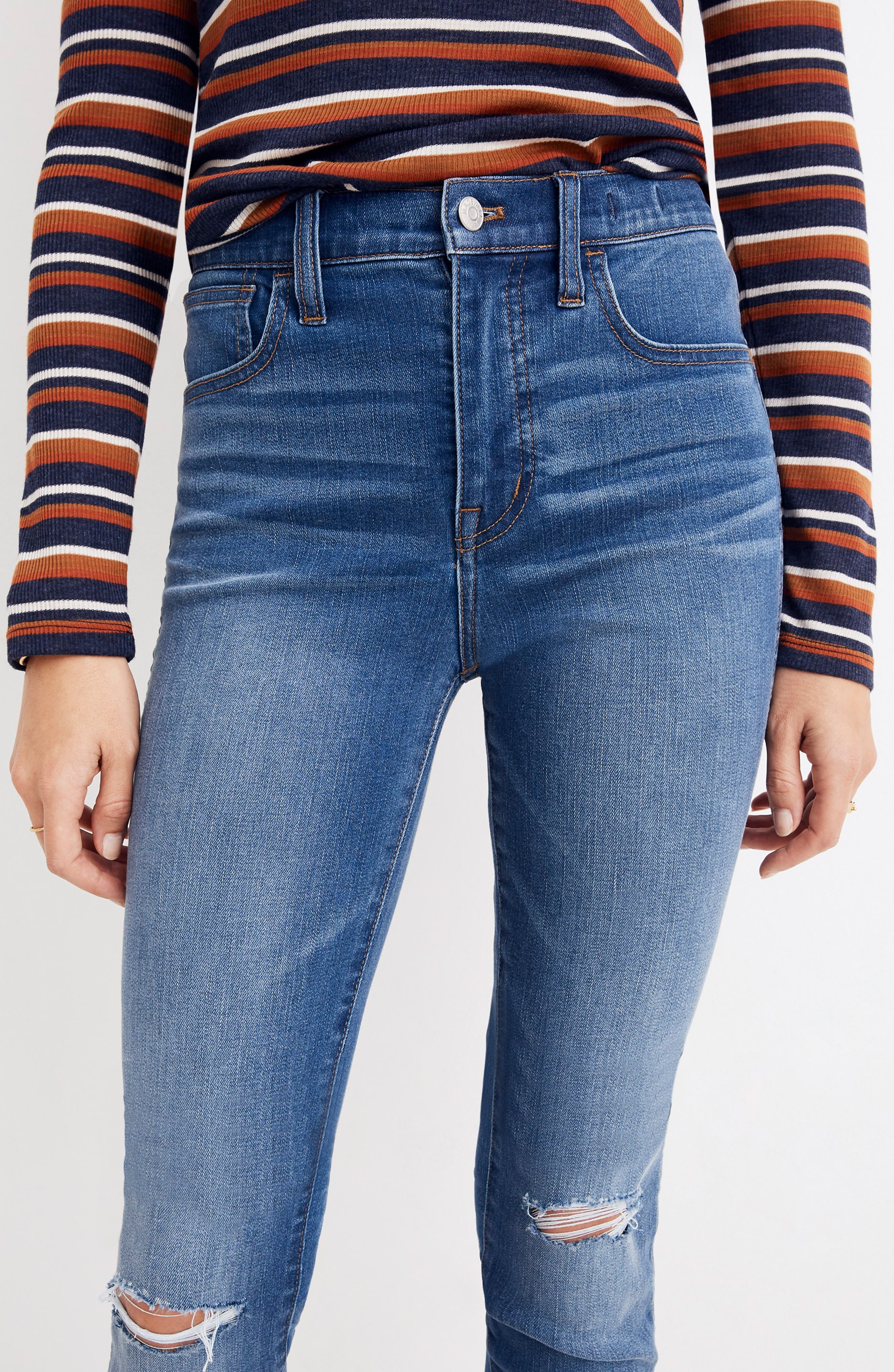MADEWELL, Roadtripper Ripped High Waist Ankle Skinny Jeans, Alternate thumbnail 5, color, THE ROAD TRIPPER W/ SLIT KNEES