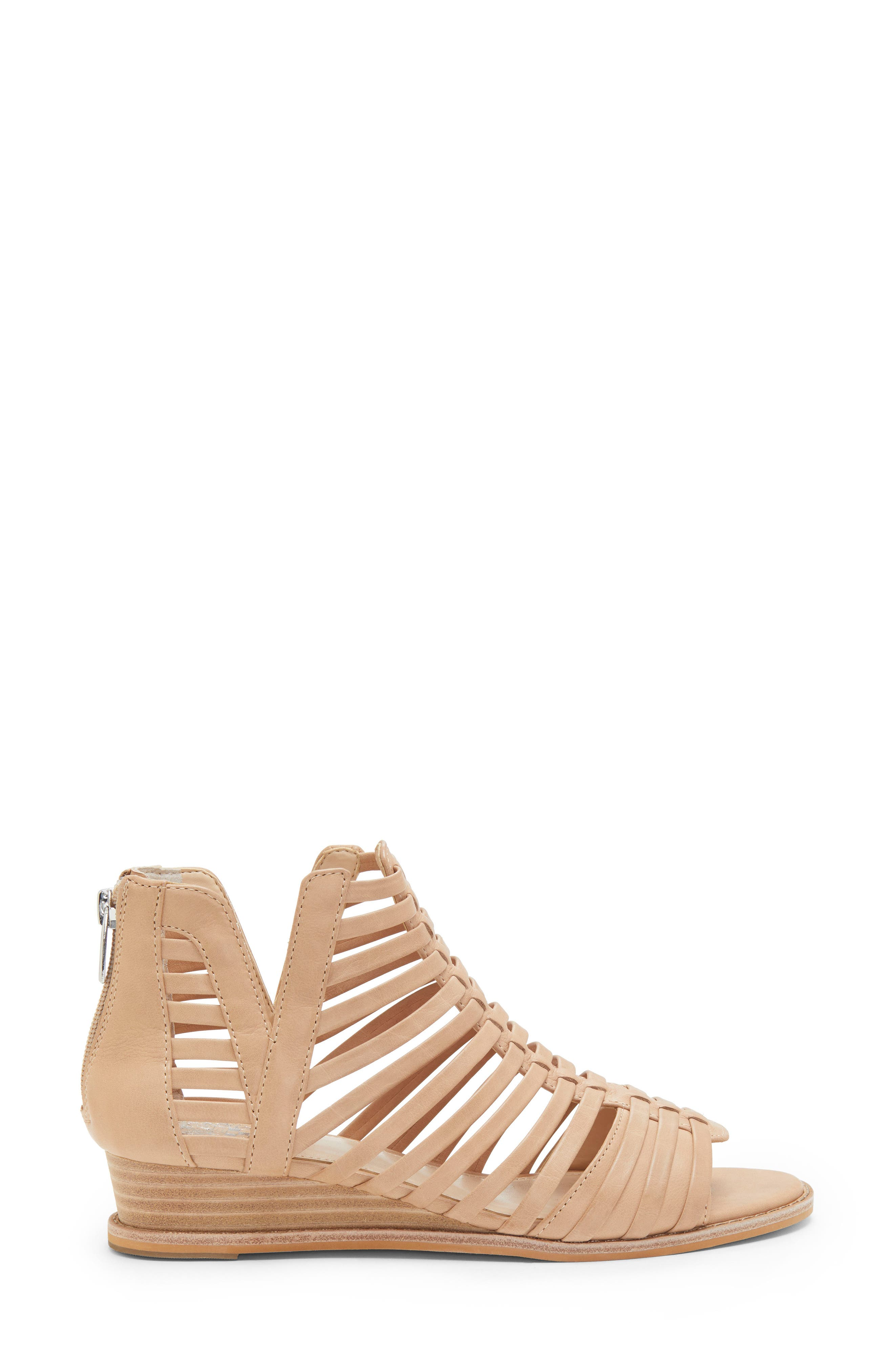 VINCE CAMUTO, Revey Wedge Sandal, Alternate thumbnail 3, color, NATURAL LEATHER