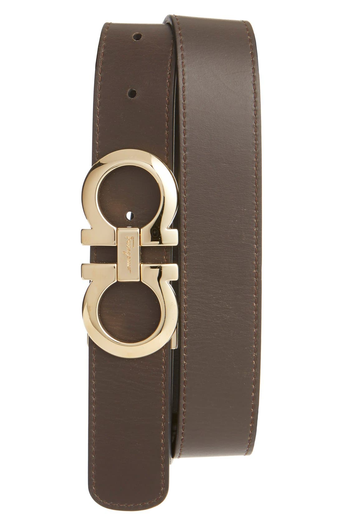 SALVATORE FERRAGAMO, Reversible Leather Belt, Alternate thumbnail 2, color, NERO/ HICKORY