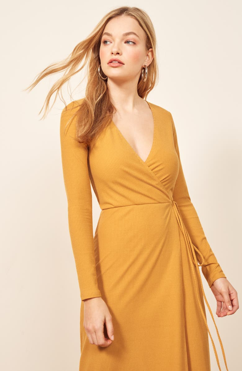 af1a6c603f7 Reformation Celine Wrap Sweater Dress In Ochre