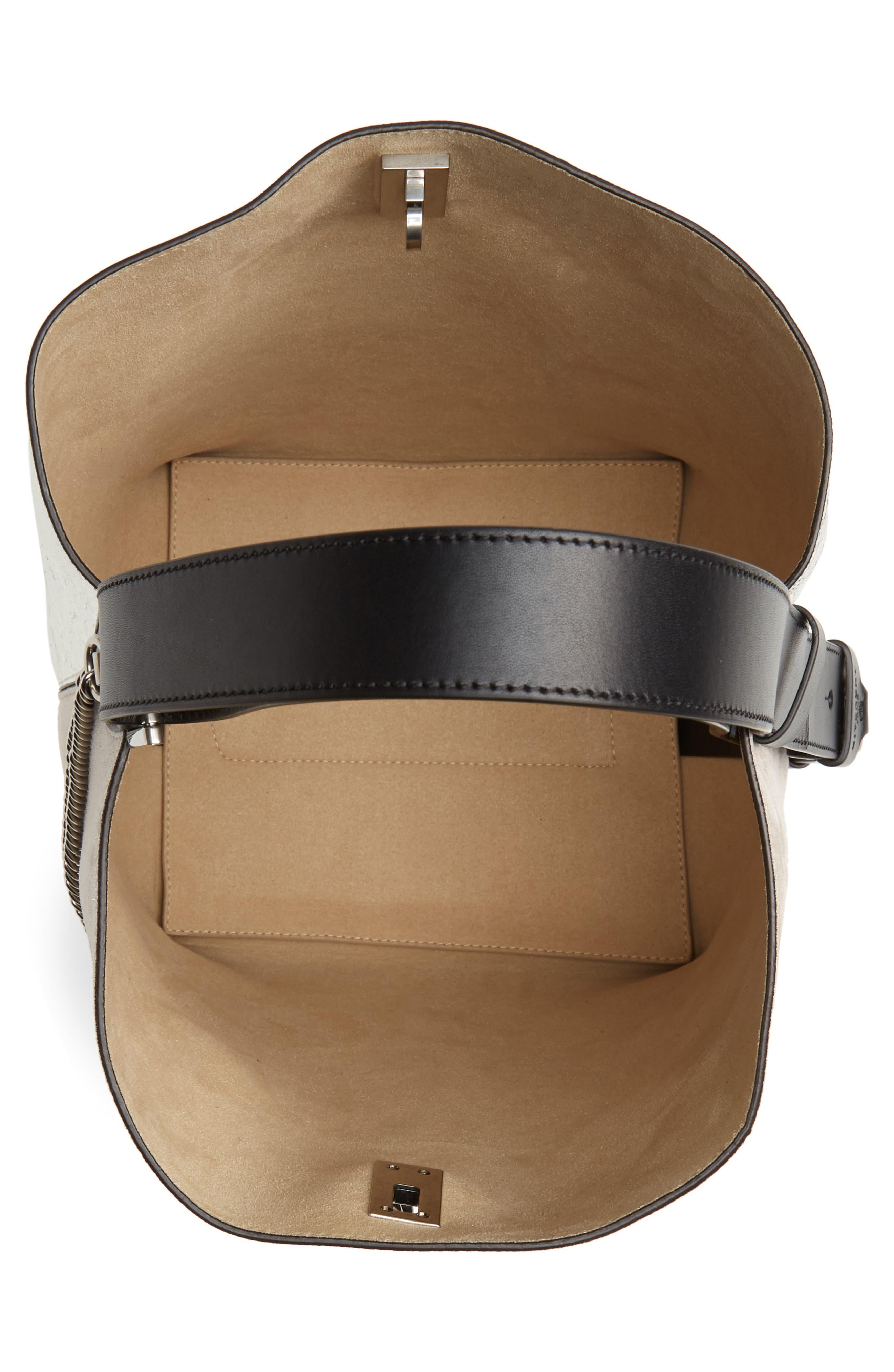 GIVENCHY, Medium GV Calfskin Suede Bucket Bag, Alternate thumbnail 5, color, NATURAL/ SILVER