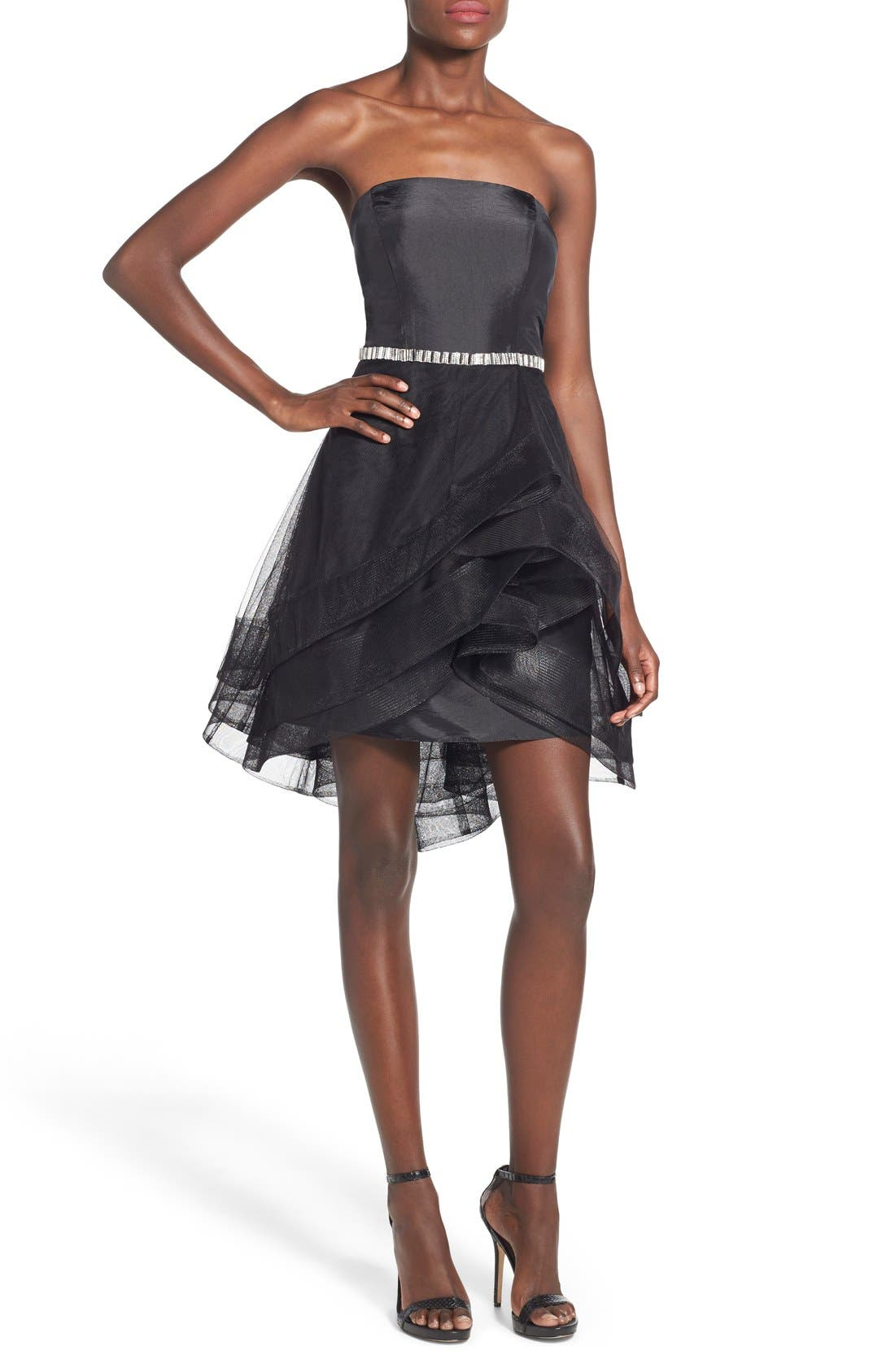 WAY-IN 'Susie' Embellished Waist Tulle Strapless Dress, Main, color, 001