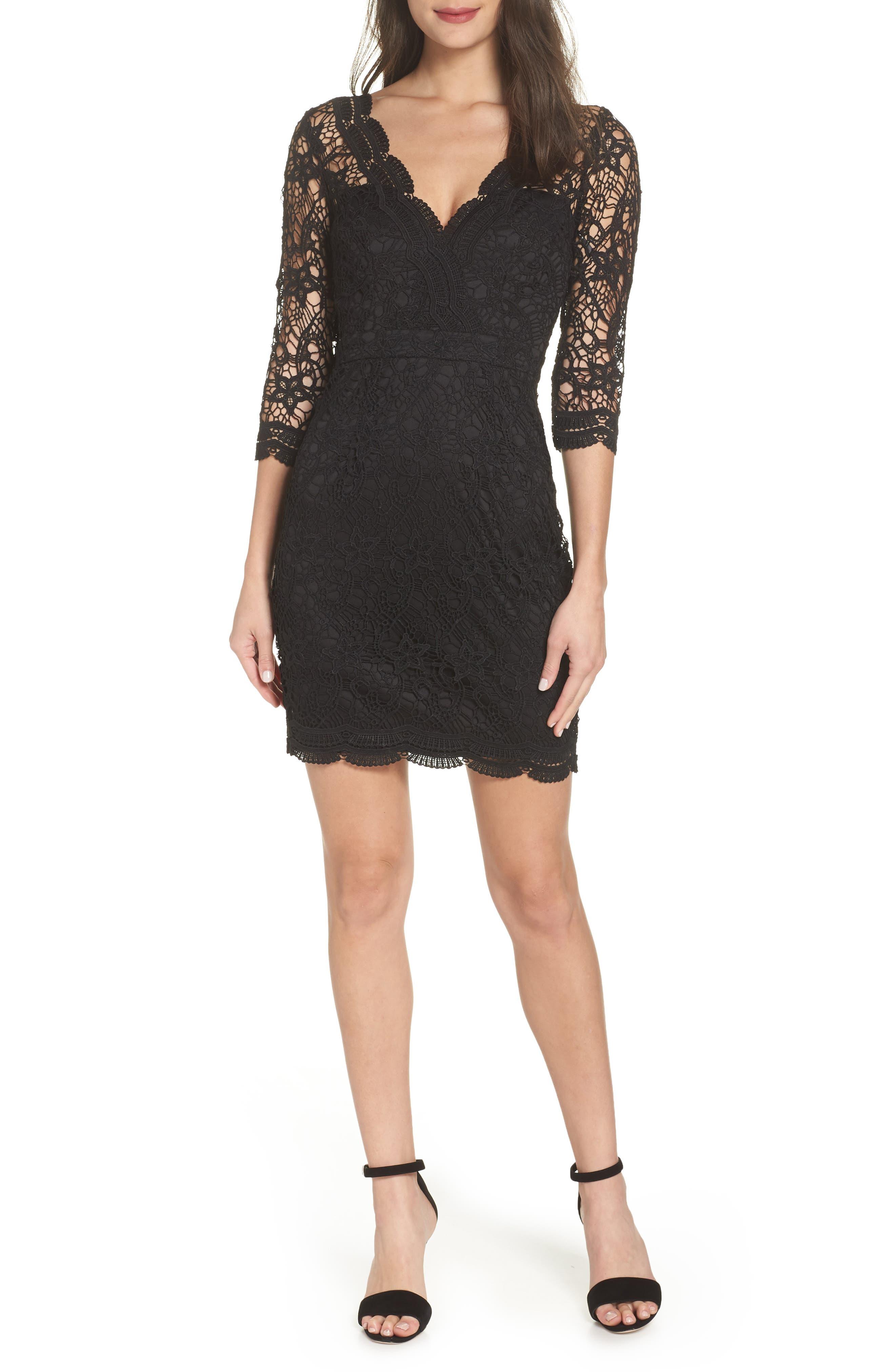 LULUS Lace Cocktail Dress, Main, color, BLACK