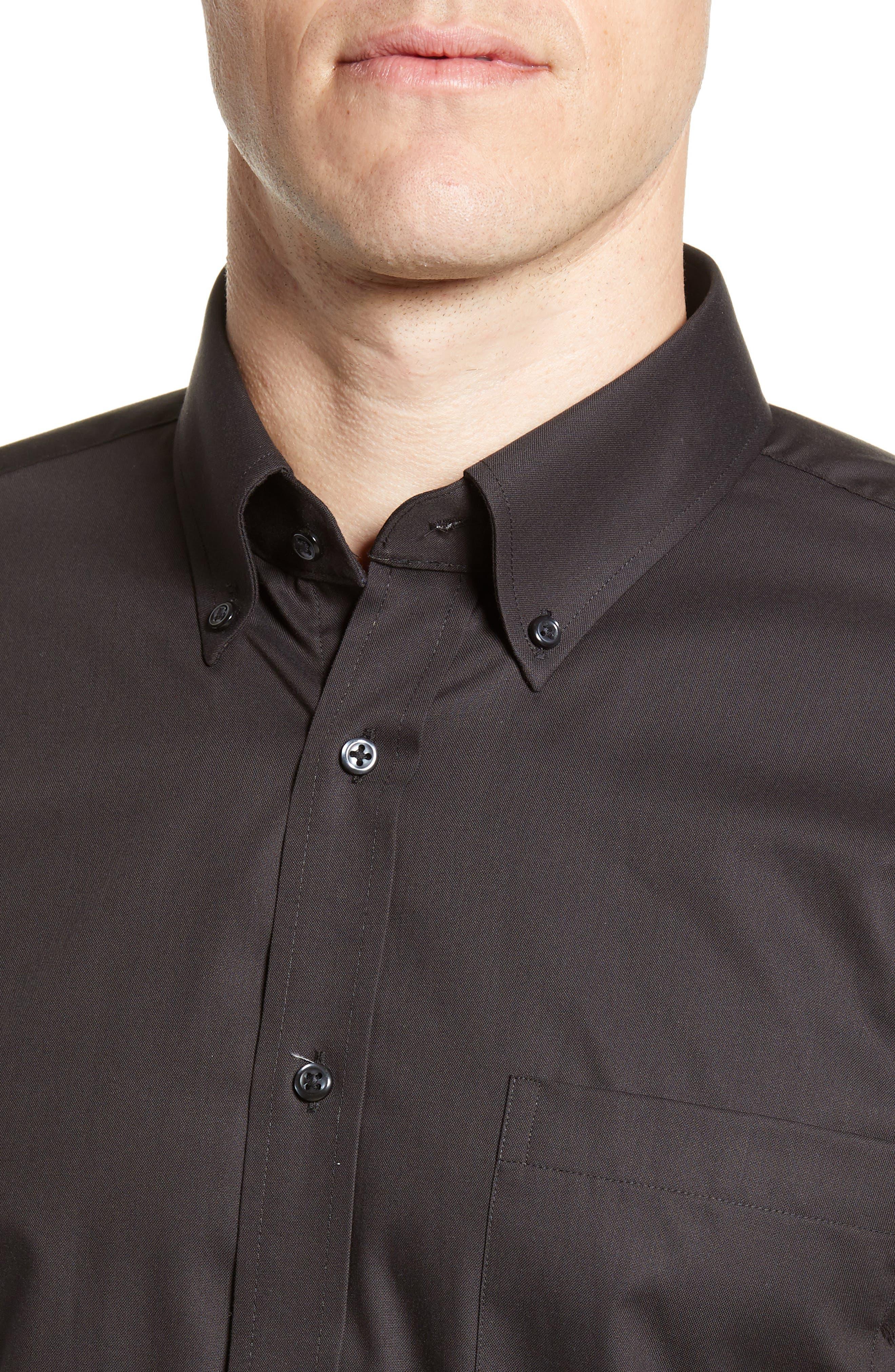 NORDSTROM MEN'S SHOP, Trim Fit Non-Iron Dress Shirt, Alternate thumbnail 2, color, BLACK
