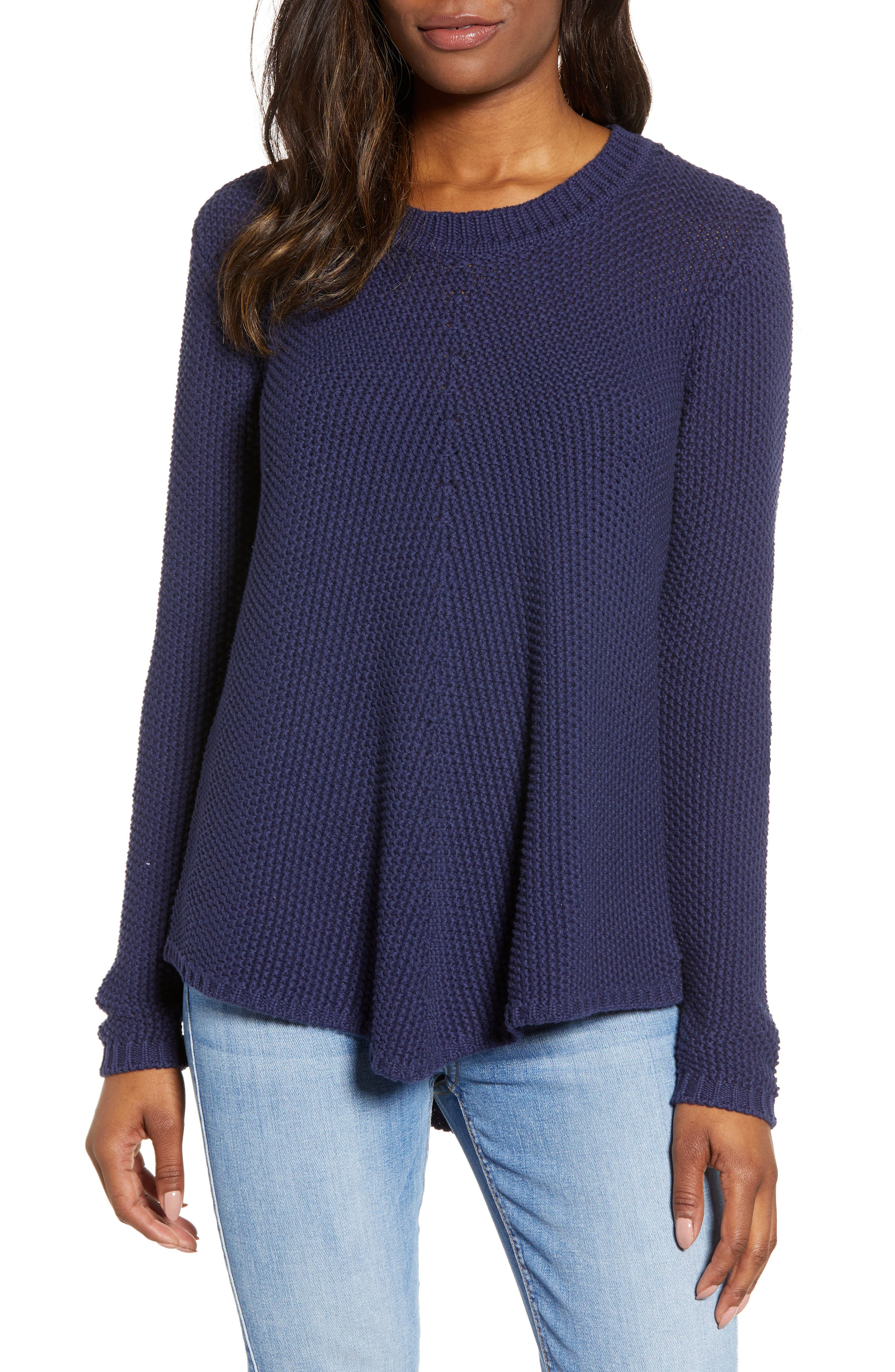 CASLON<SUP>®</SUP> Stitch Stripe Sweater, Main, color, NAVY PEACOAT