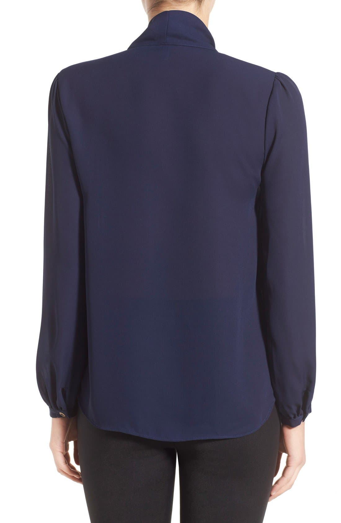 LEITH, Crepe Tie Neck Top, Alternate thumbnail 2, color, 410