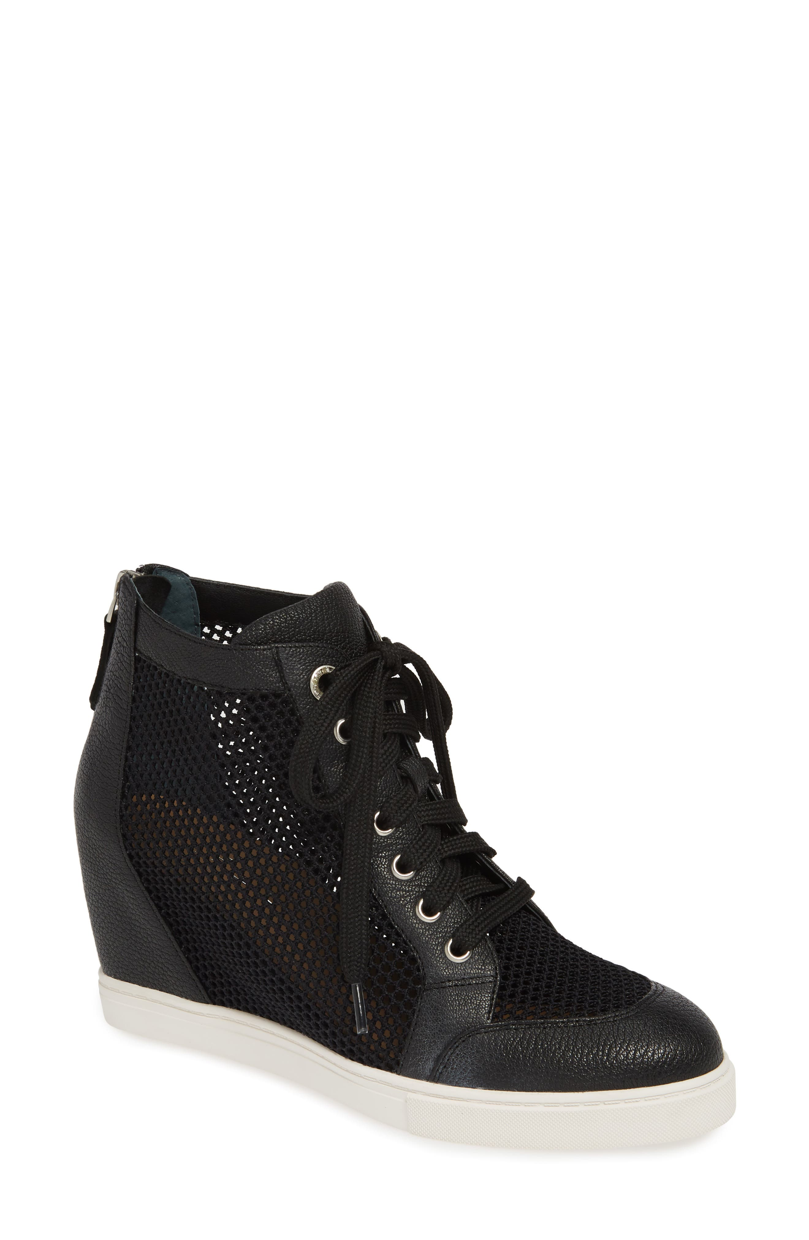 LINEA PAOLO, Finian Mesh Wedge Sneaker Bootie, Main thumbnail 1, color, BLACK LEATHER