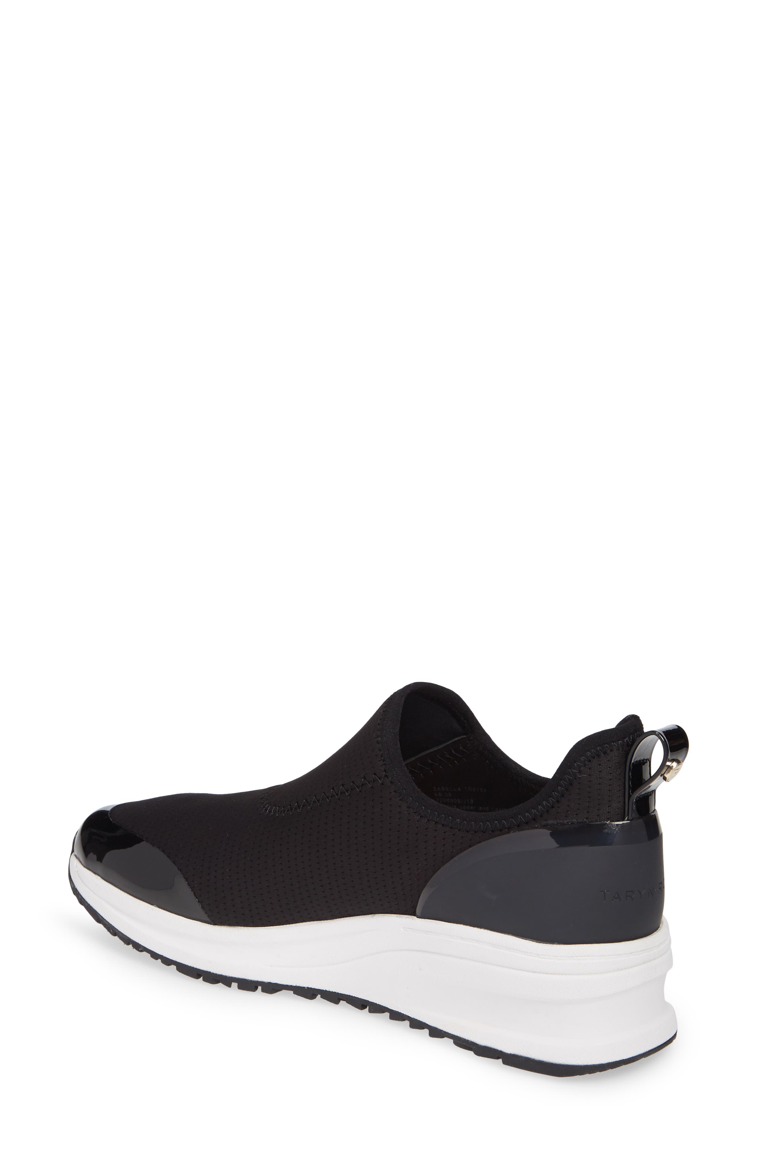 TARYN ROSE, Zabella Slip-On Sneaker, Alternate thumbnail 2, color, BLACK STRETCH FABRIC