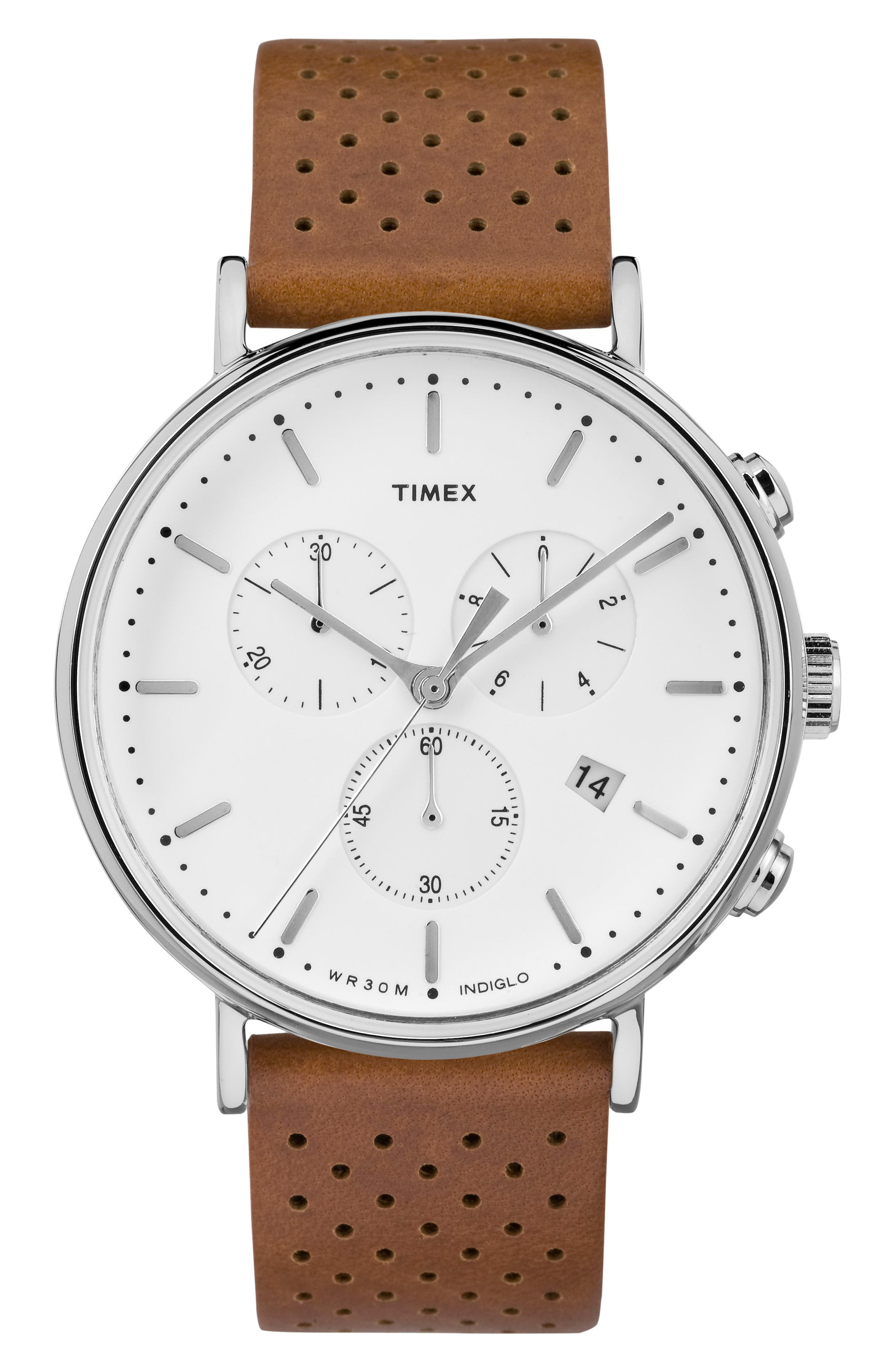 TIMEX<SUP>®</SUP>, Fairfield Chronograph Leather Strap Watch, 41mm, Main thumbnail 1, color, BROWN/ WHITE/ SILVER