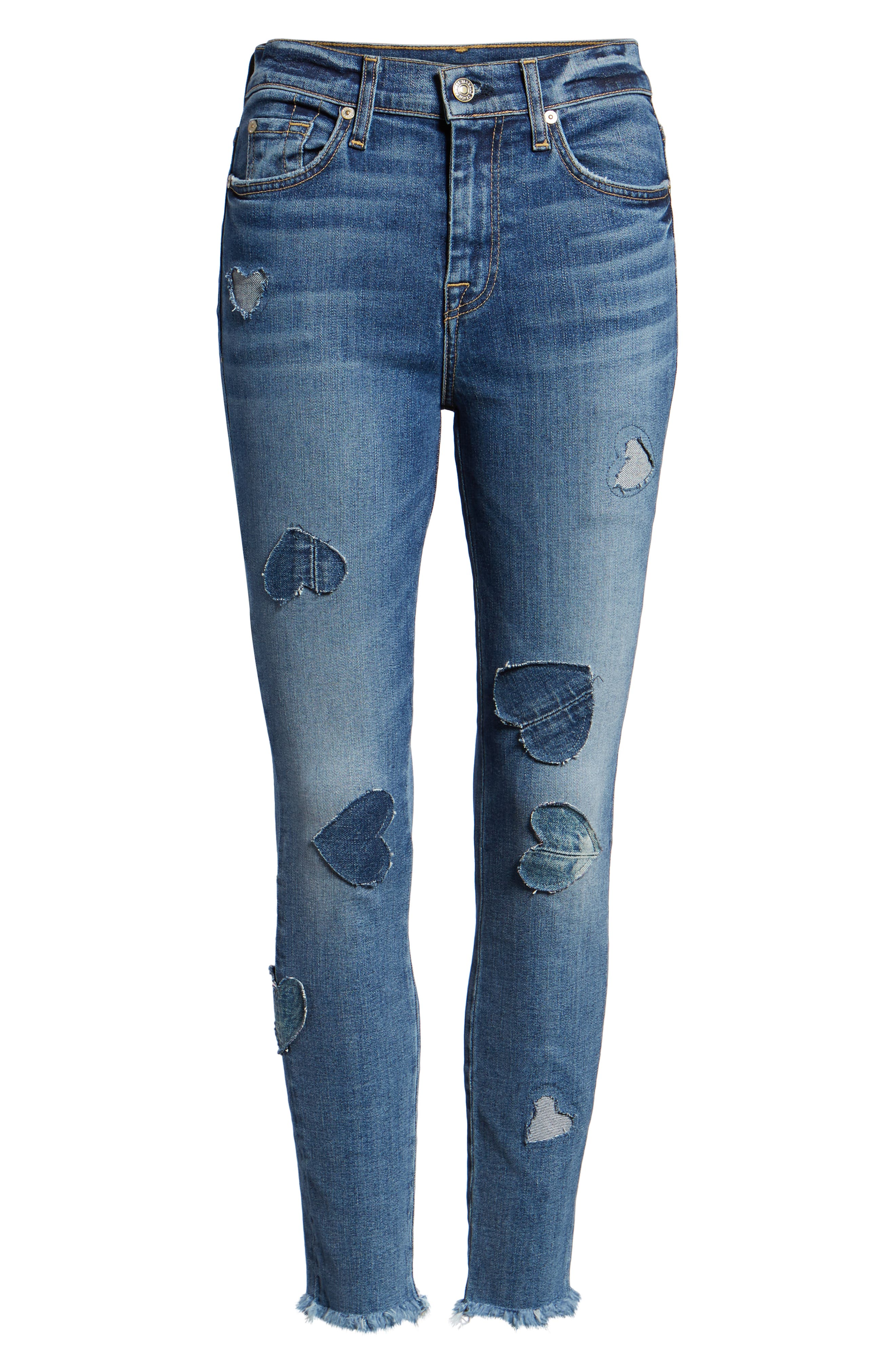 7 FOR ALL MANKIND<SUP>®</SUP>, Heart Patch Ankle Skinny Jeans, Alternate thumbnail 7, color, INDIGO SPRINGS