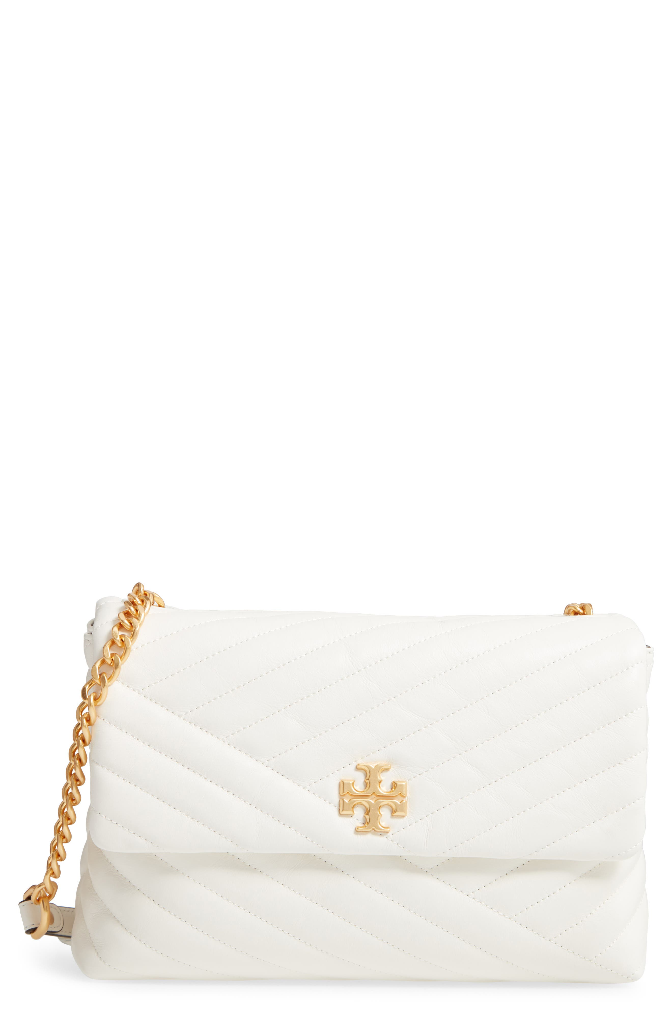 TORY BURCH, Kira Chevron Quilted Leather Shoulder Bag, Main thumbnail 1, color, NEW IVORY