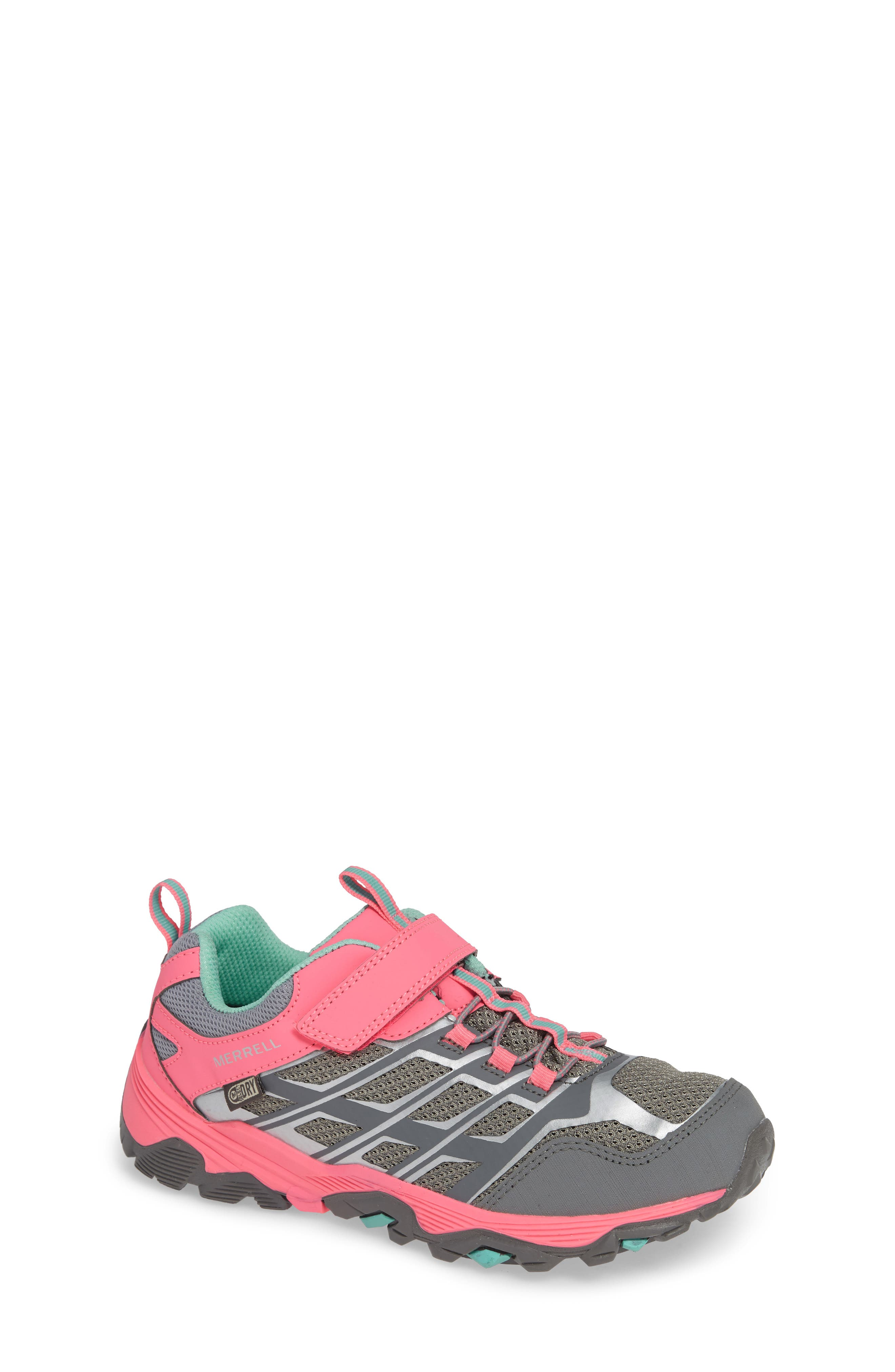 MERRELL, Moab FST Polar Low Waterproof Sneaker, Main thumbnail 1, color, GREY/ CORAL