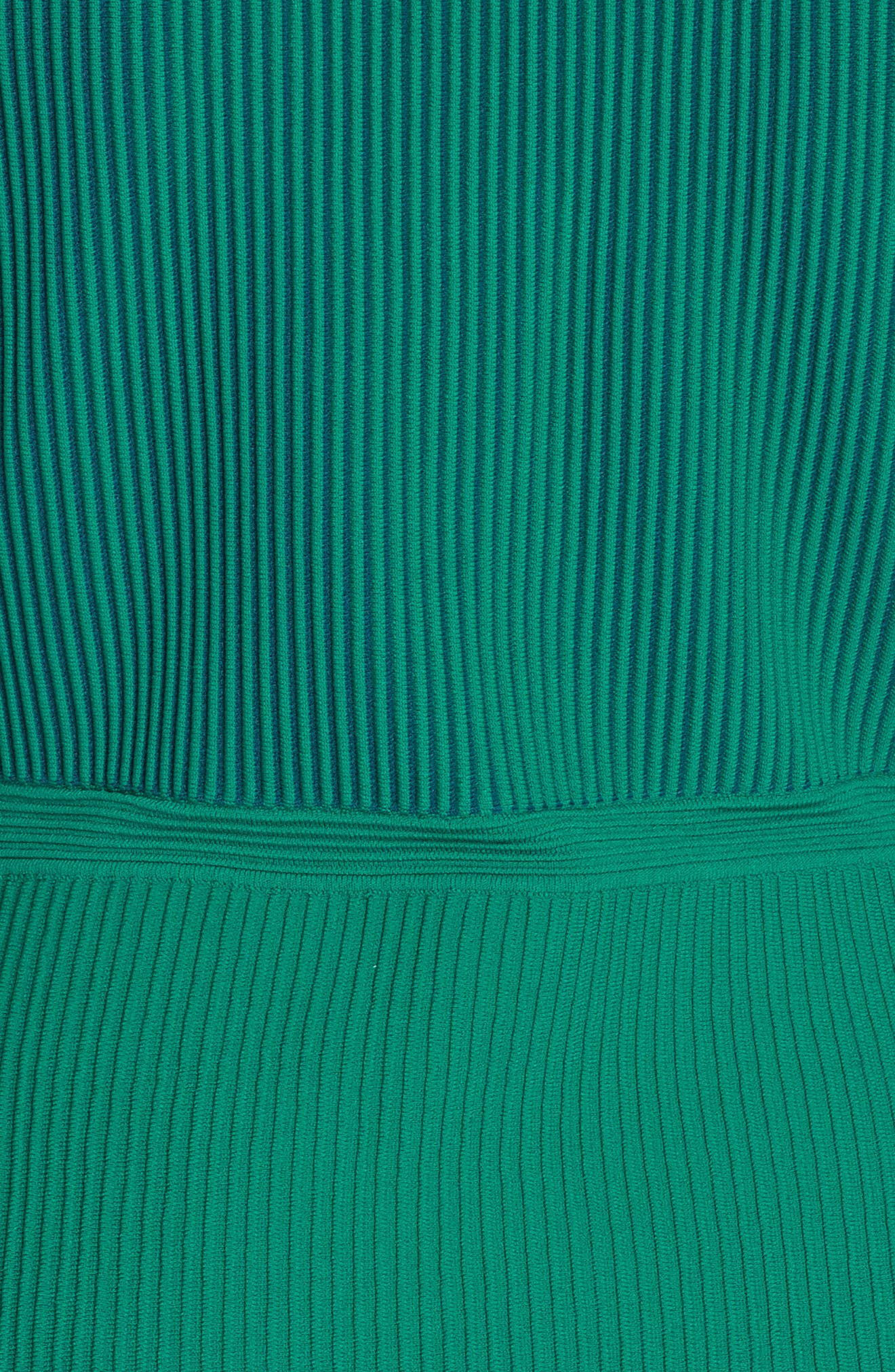 DVF, Adi Ribbed Knit Dress, Alternate thumbnail 6, color, EMERALD/ AVALON TEAL