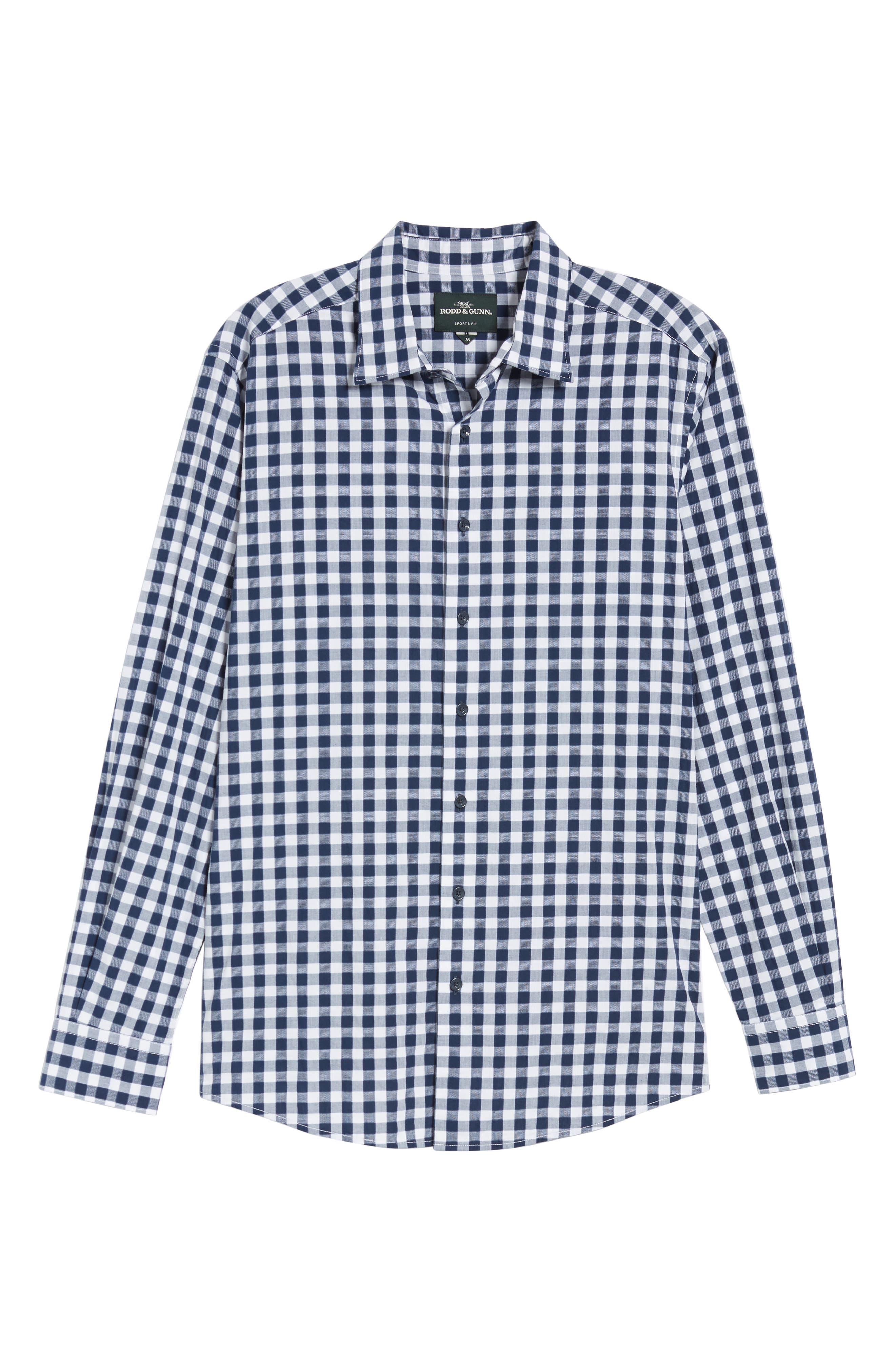 RODD & GUNN, Dixon Check Sport Shirt, Alternate thumbnail 5, color, NAVY