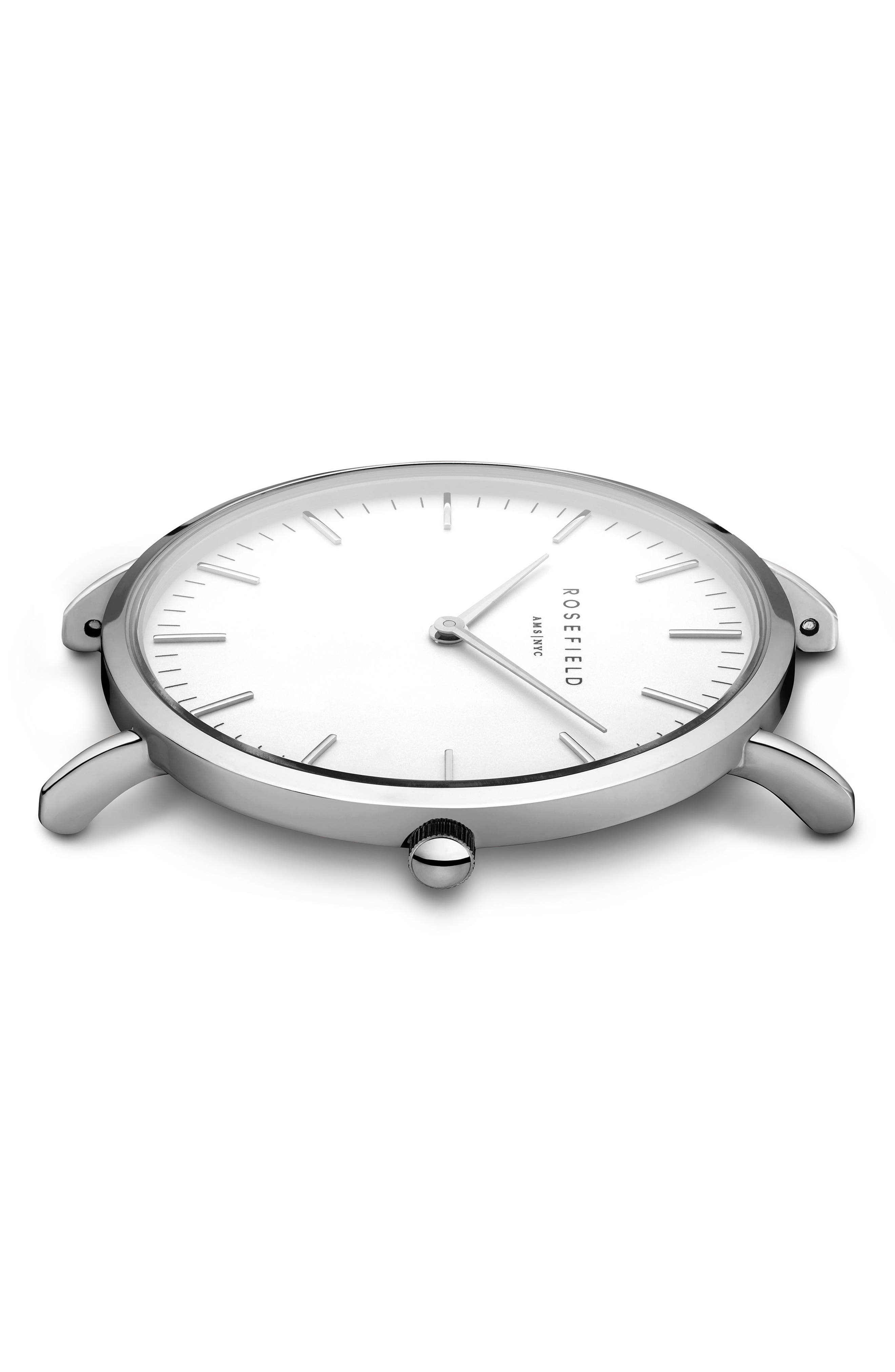 ROSEFIELD, Bowery Leather Strap Watch, 38mm, Alternate thumbnail 3, color, GREY/ WHITE/ SILVER