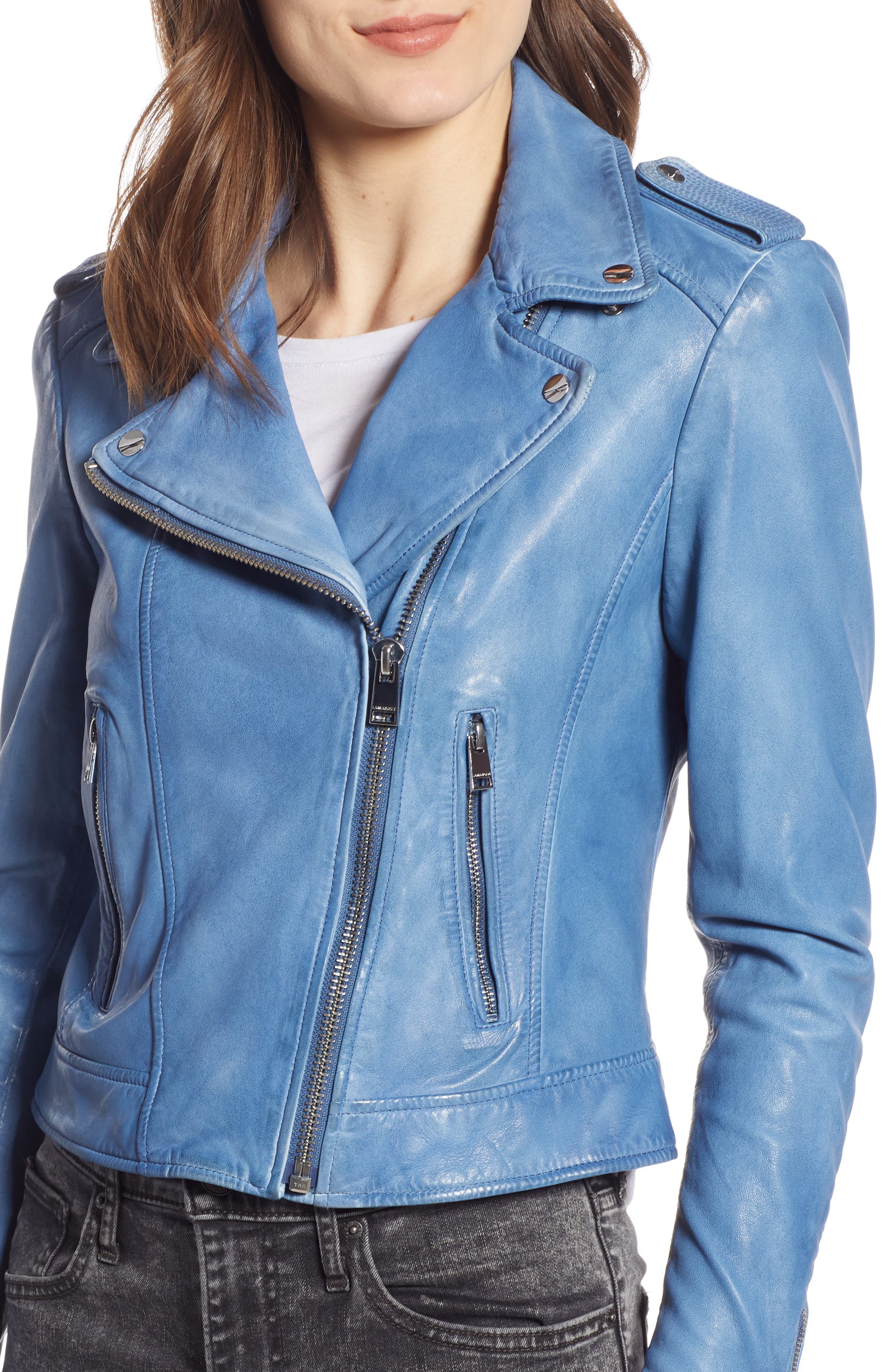 LAMARQUE, Donna Lambskin Leather Moto Jacket, Alternate thumbnail 5, color, FADED DENIM