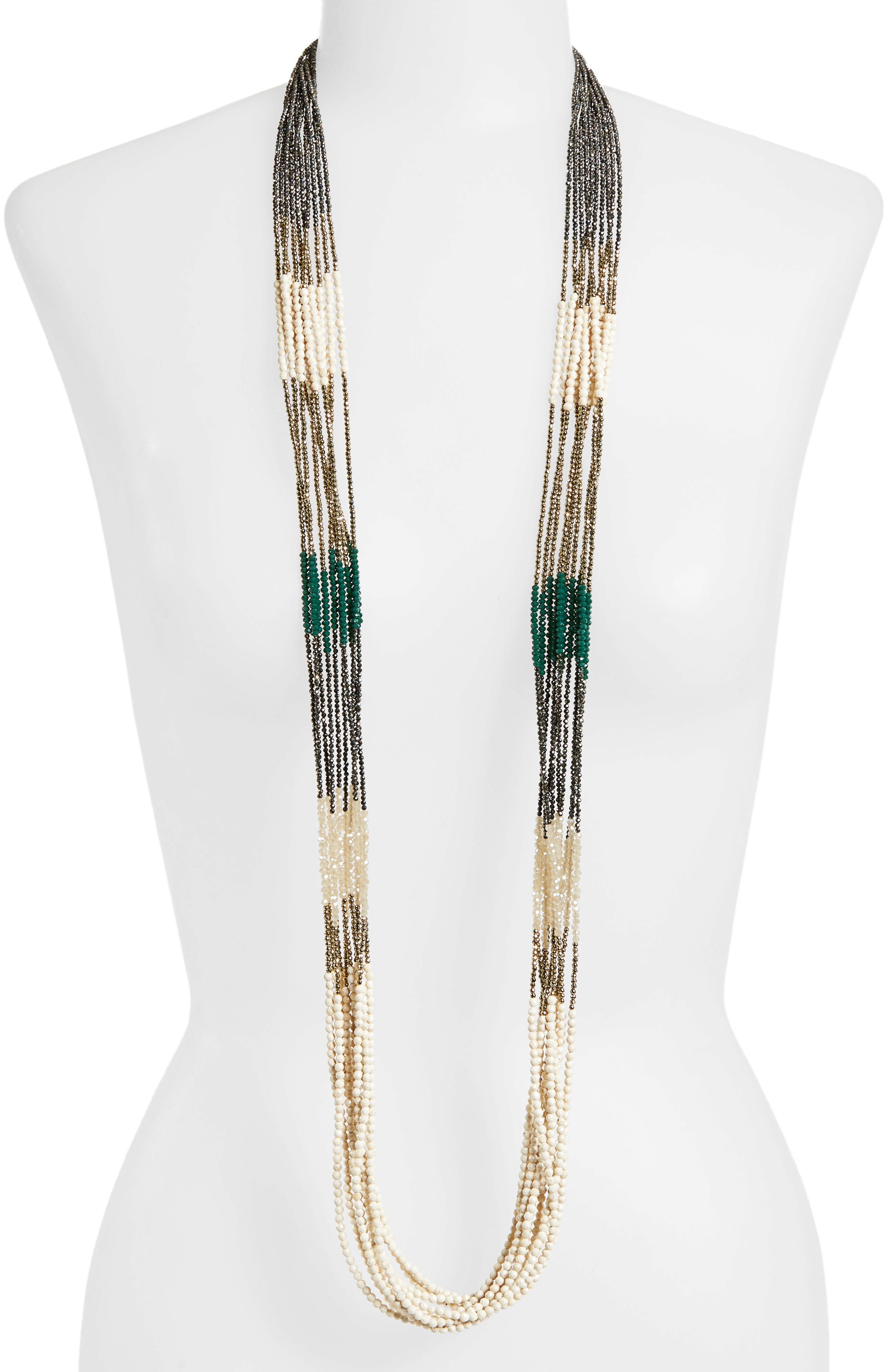 BRUNELLO CUCINELLI, Beaded Multistrand Necklace, Alternate thumbnail 2, color, BROWN