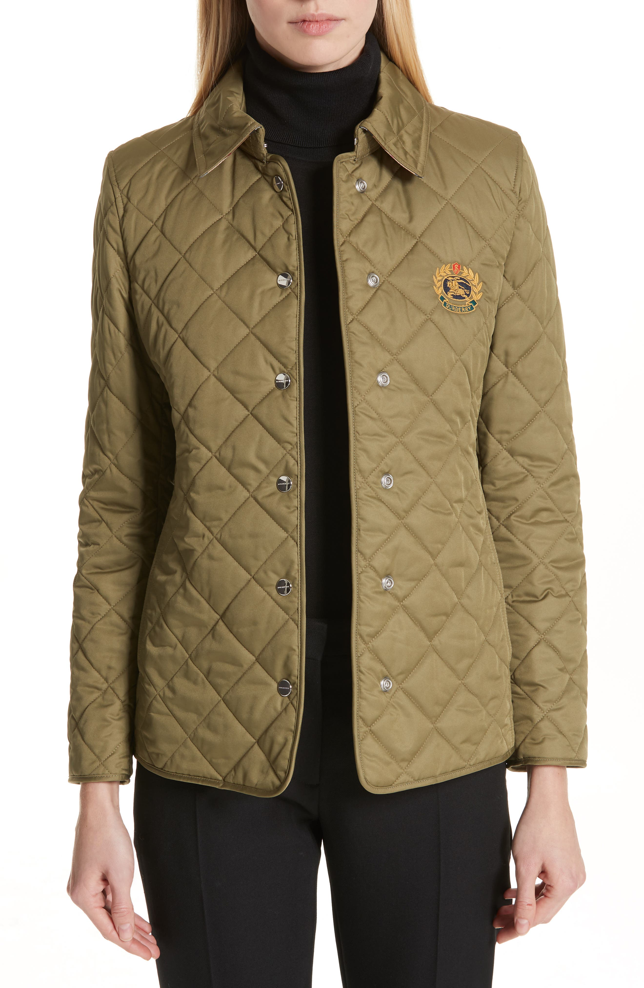BURBERRY Franwell Diamond Quilted Jacket, Main, color, LIGHT KHAKI