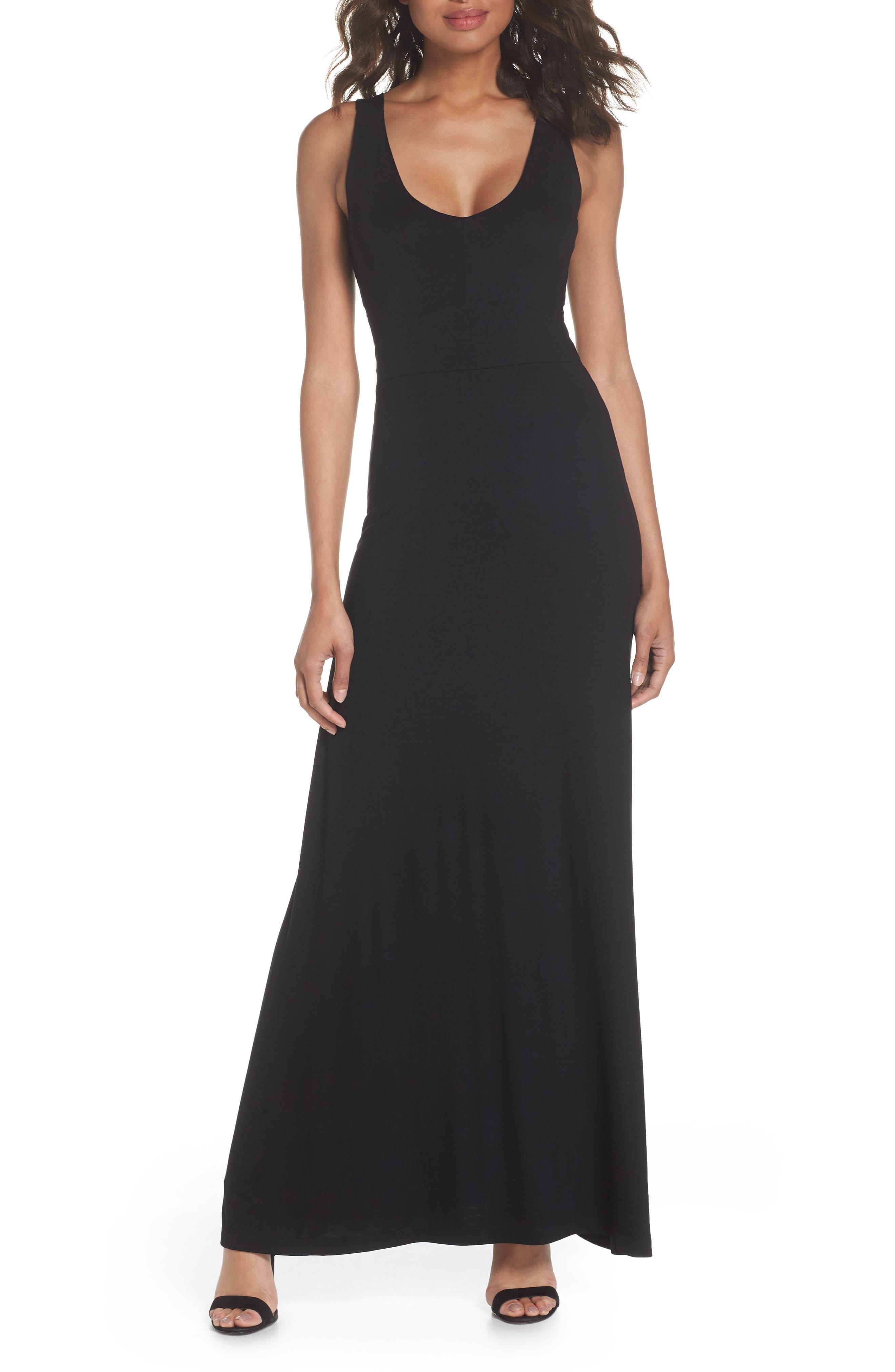 Fraiche By J Open Back Maxi Dress, Black