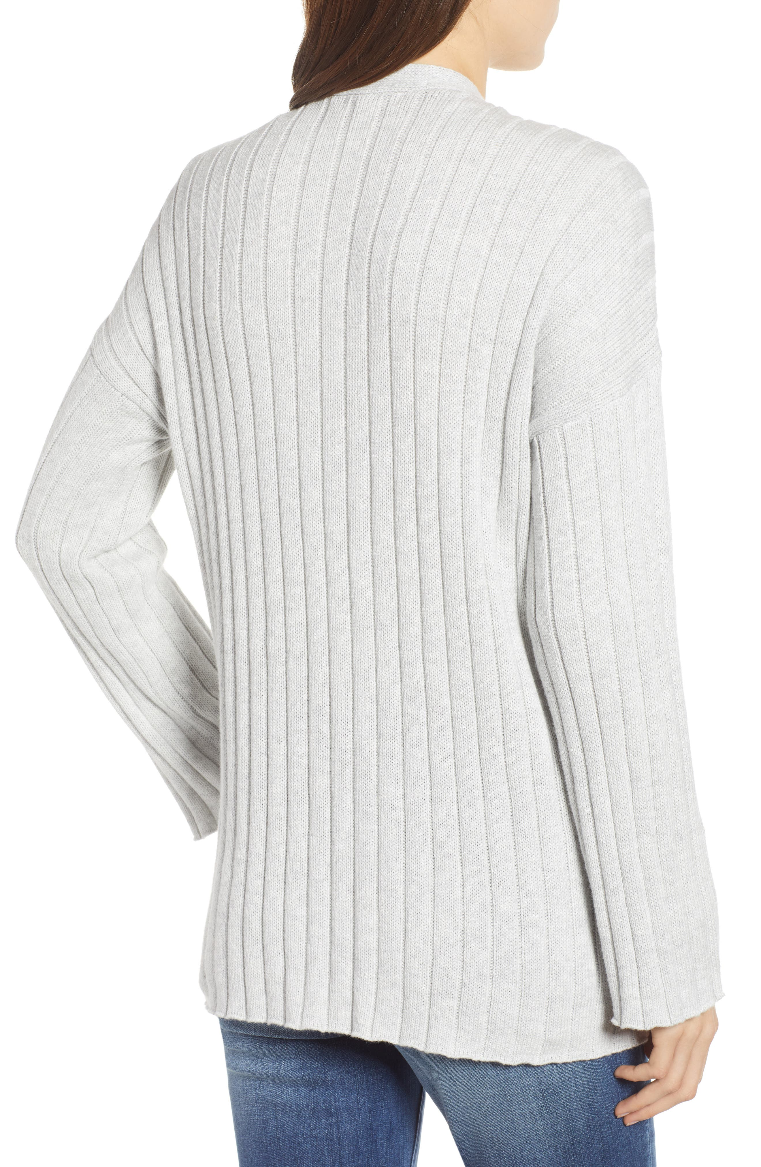 BP., Ribbed Throw On Cardigan, Alternate thumbnail 3, color, GREY QUIET HEATHER