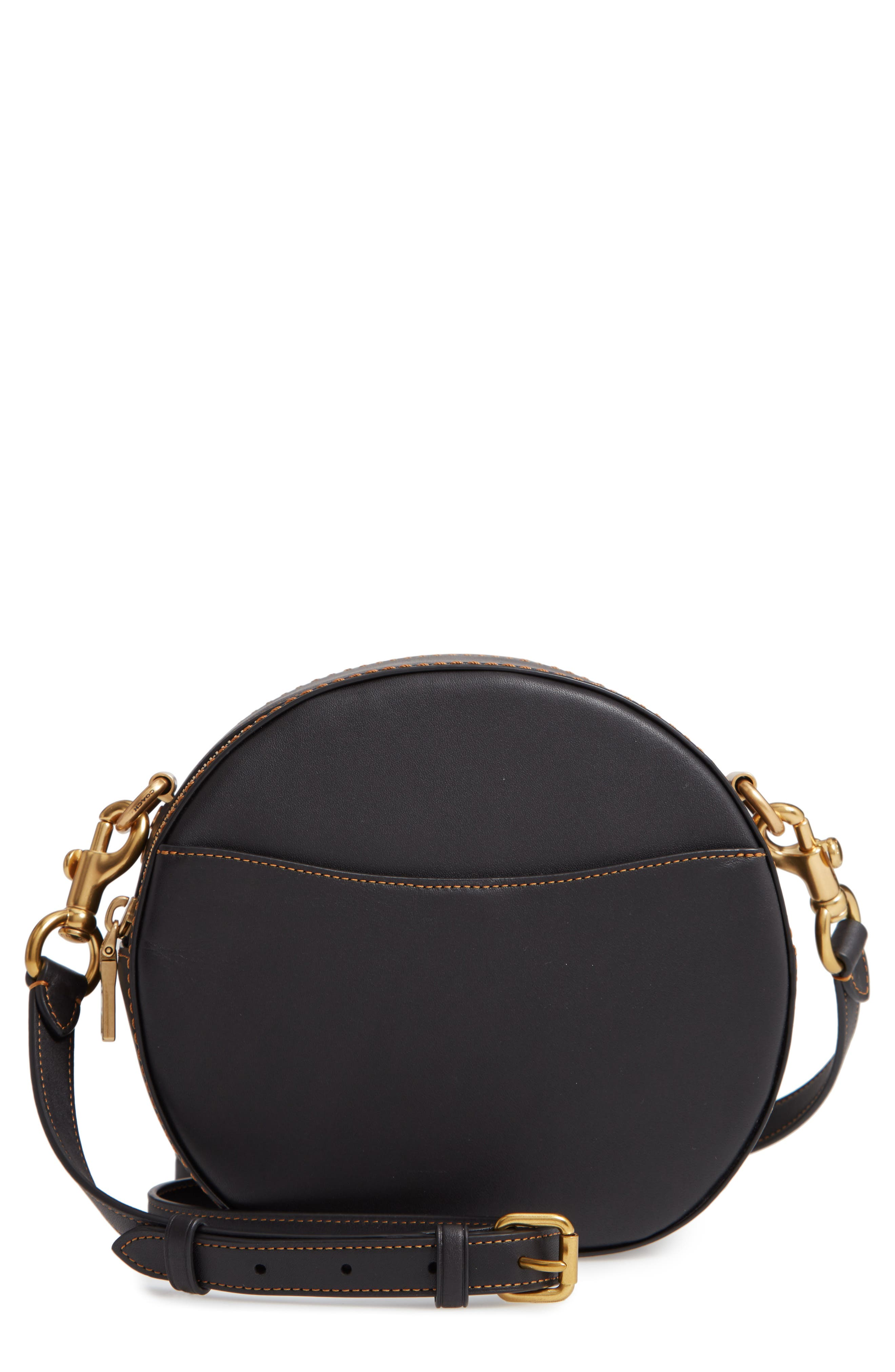 COACH Canteen Leather Crossbody Bag, Main, color, BLACK