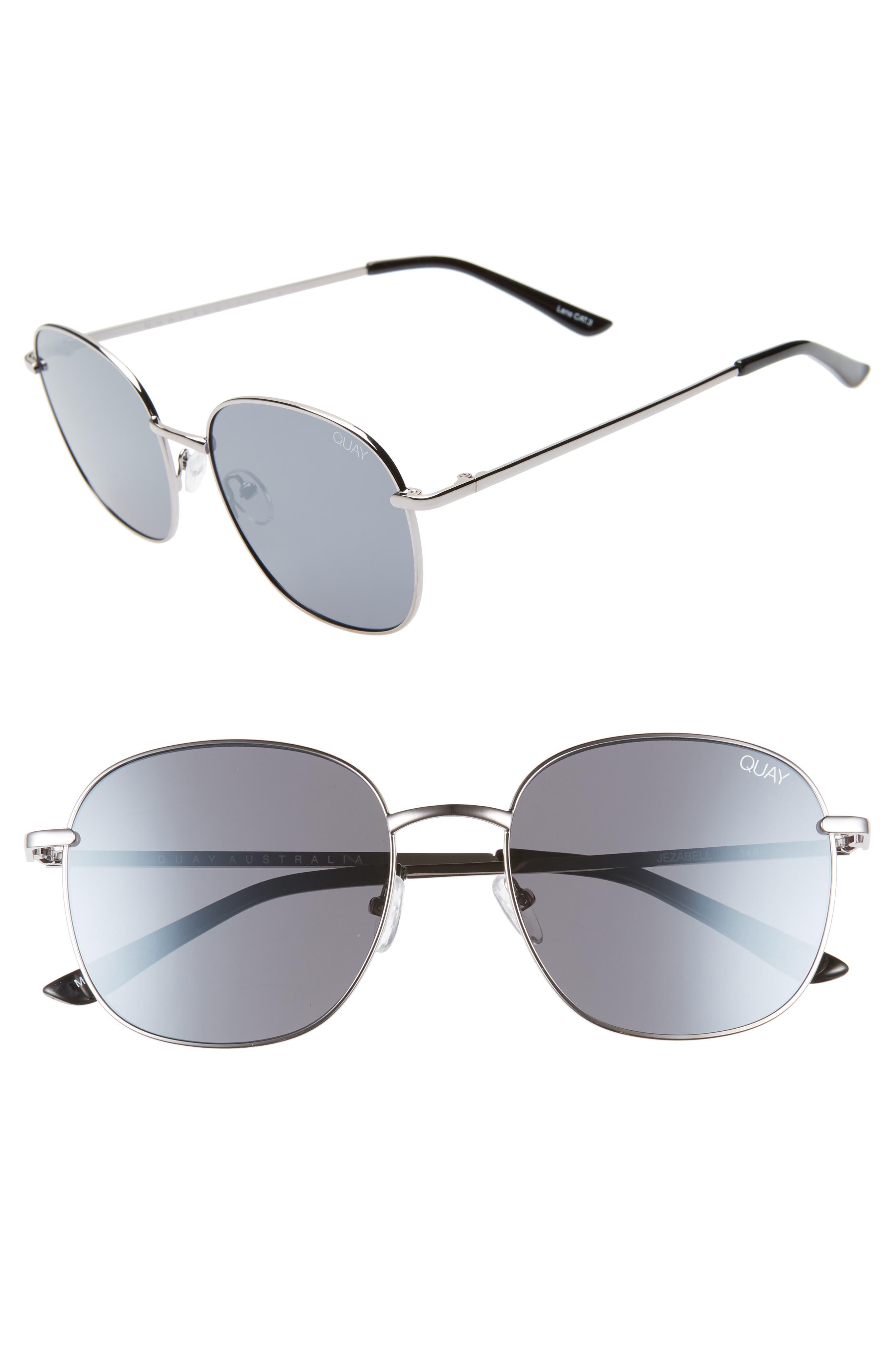 QUAY AUSTRALIA Jezabell 57mm Round Sunglasses, Main, color, GUNMETAL / SILVER MIRROR